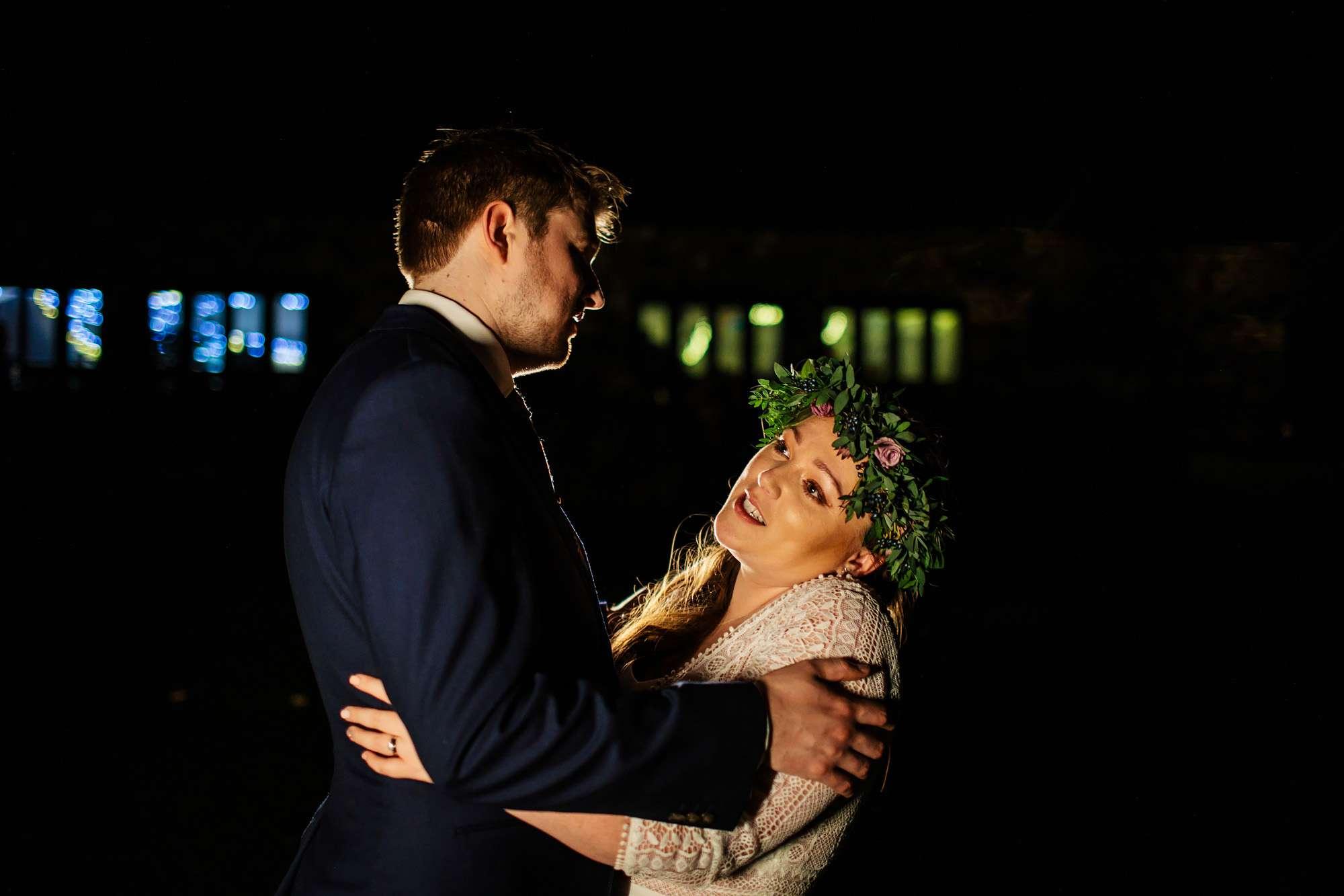 Bride and groom at their East Keswick Village Hall Wedding