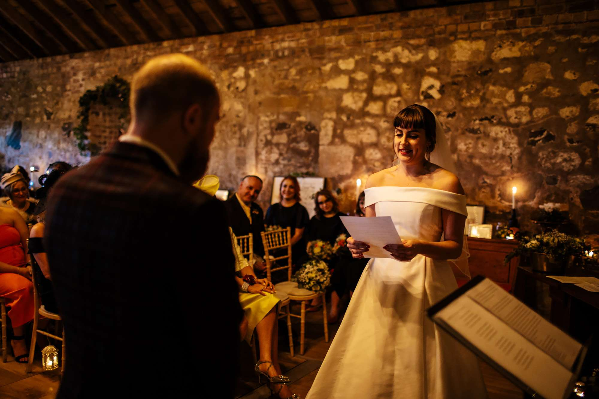 Bride saying her wedding vows at The Rhynd Leuchars