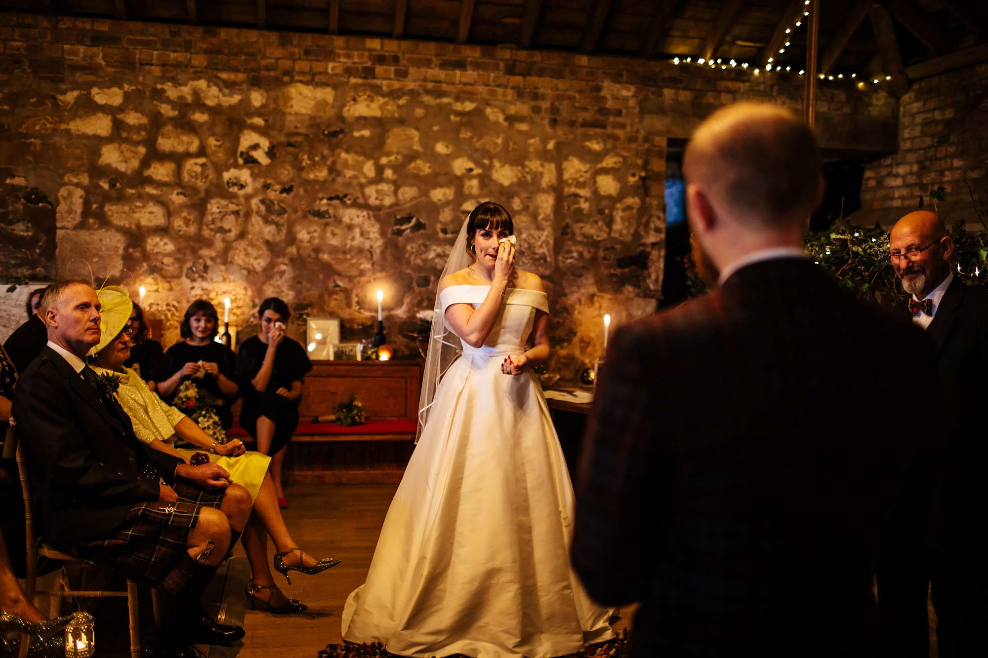 En emotional bride in tears at The Rhynd Leuchars