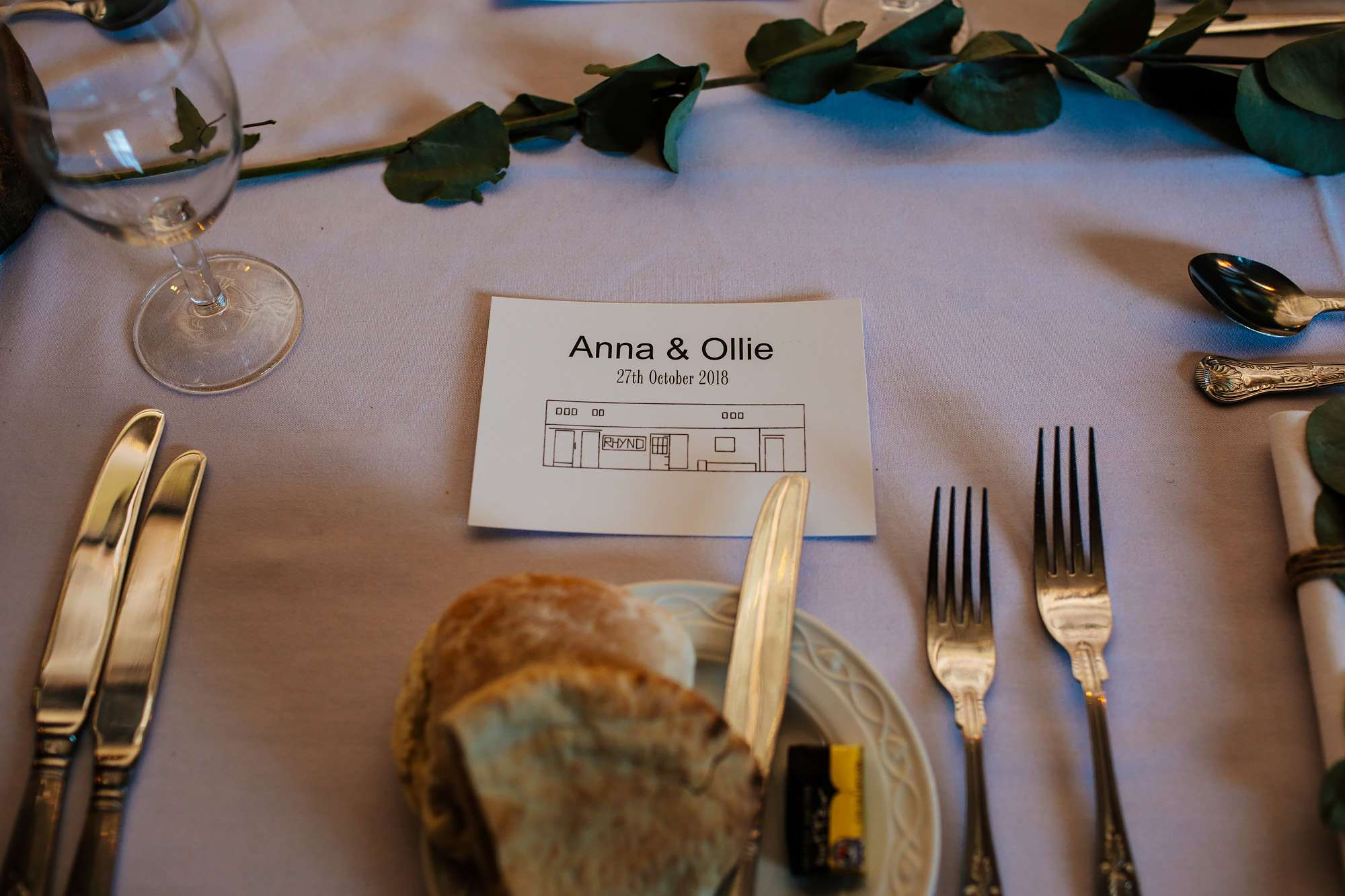 Table details at a wedding in Fife