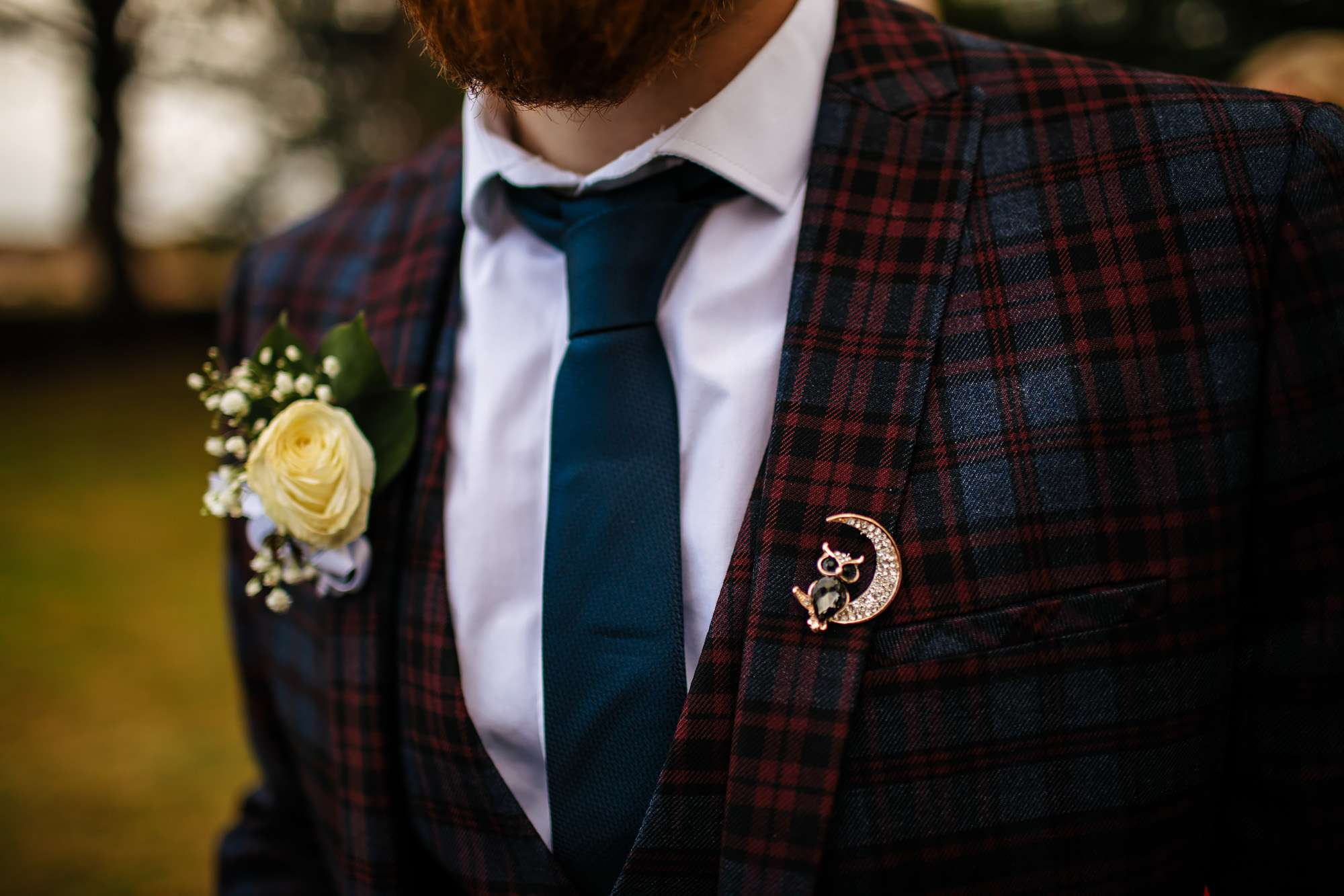 Grooms suit details for a Fife wedding