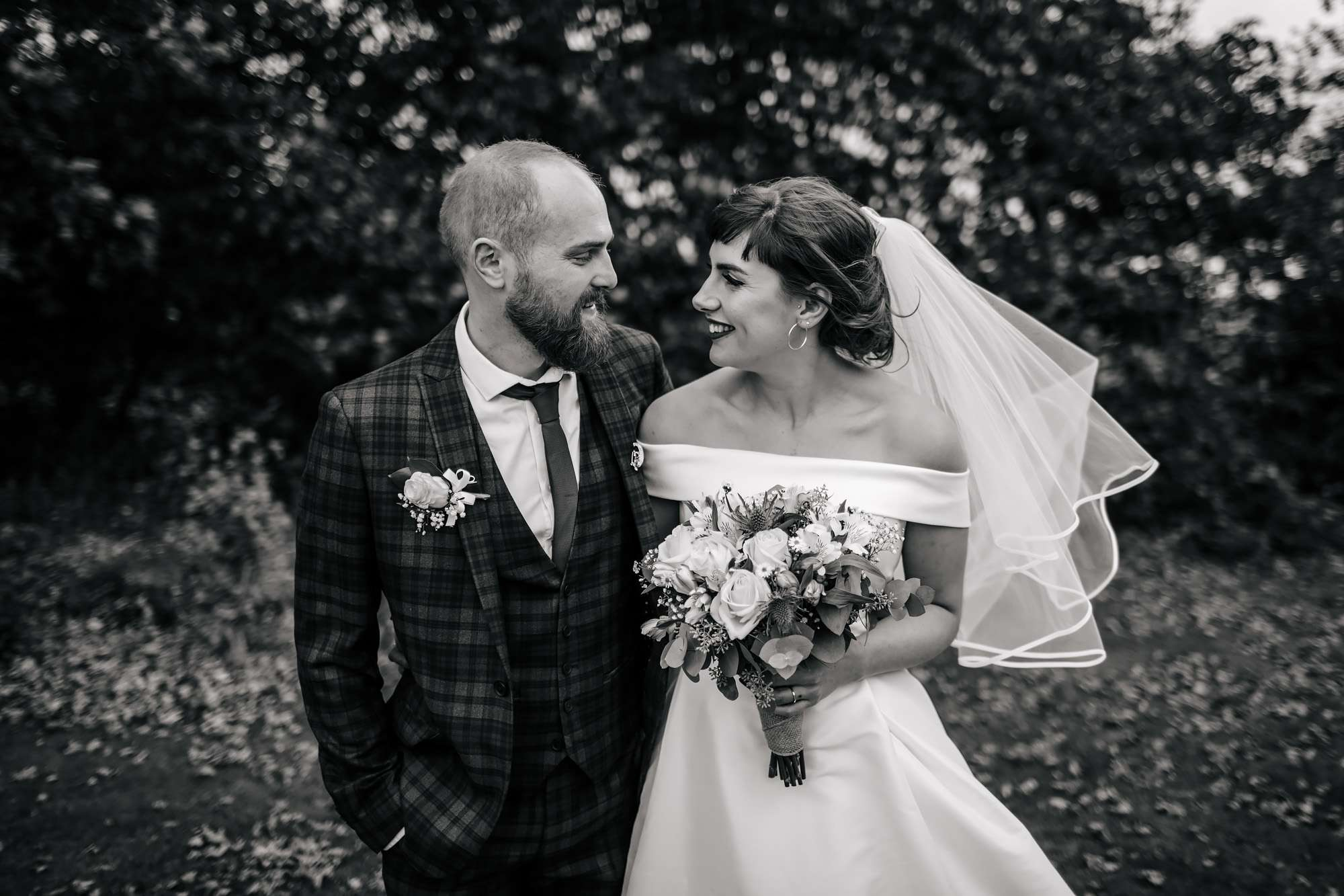 Bride and groom portrait for a Fife wedding