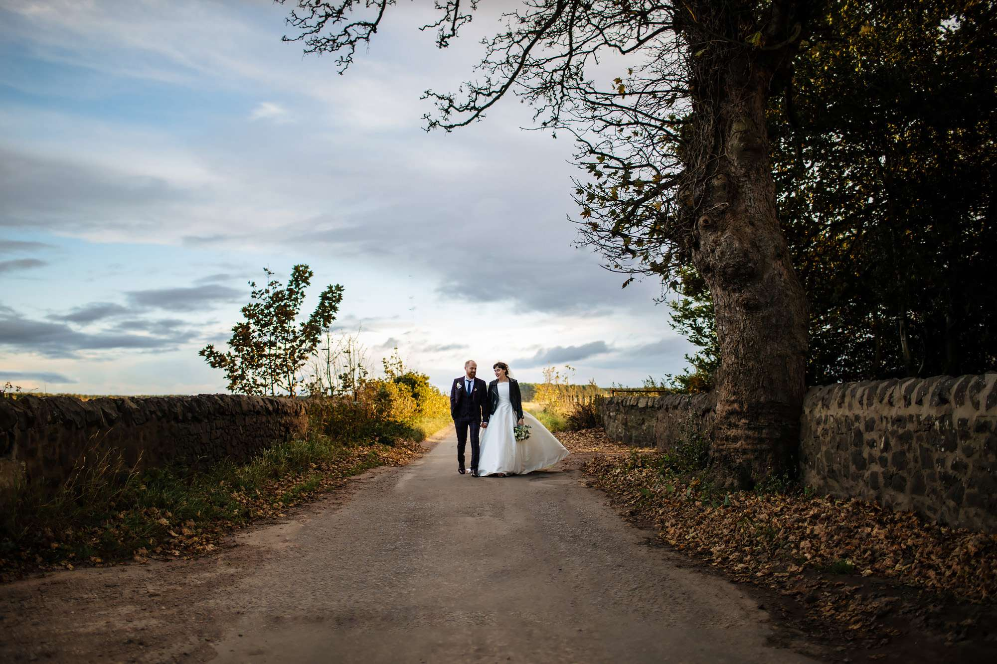 Bride and groom on their wedding day at The Rhynd Leuchars