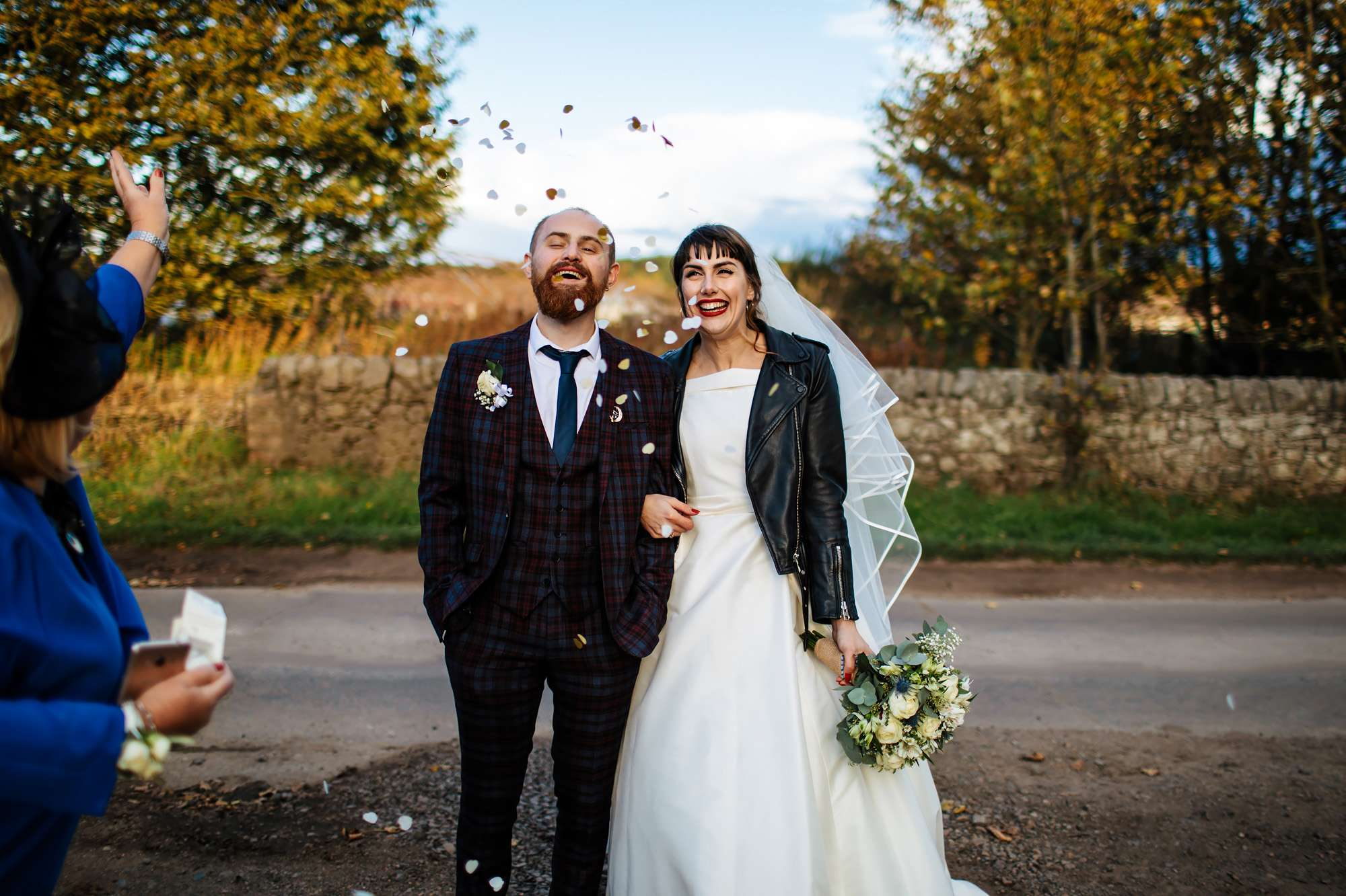 Confetti shot at a wedding in Fife
