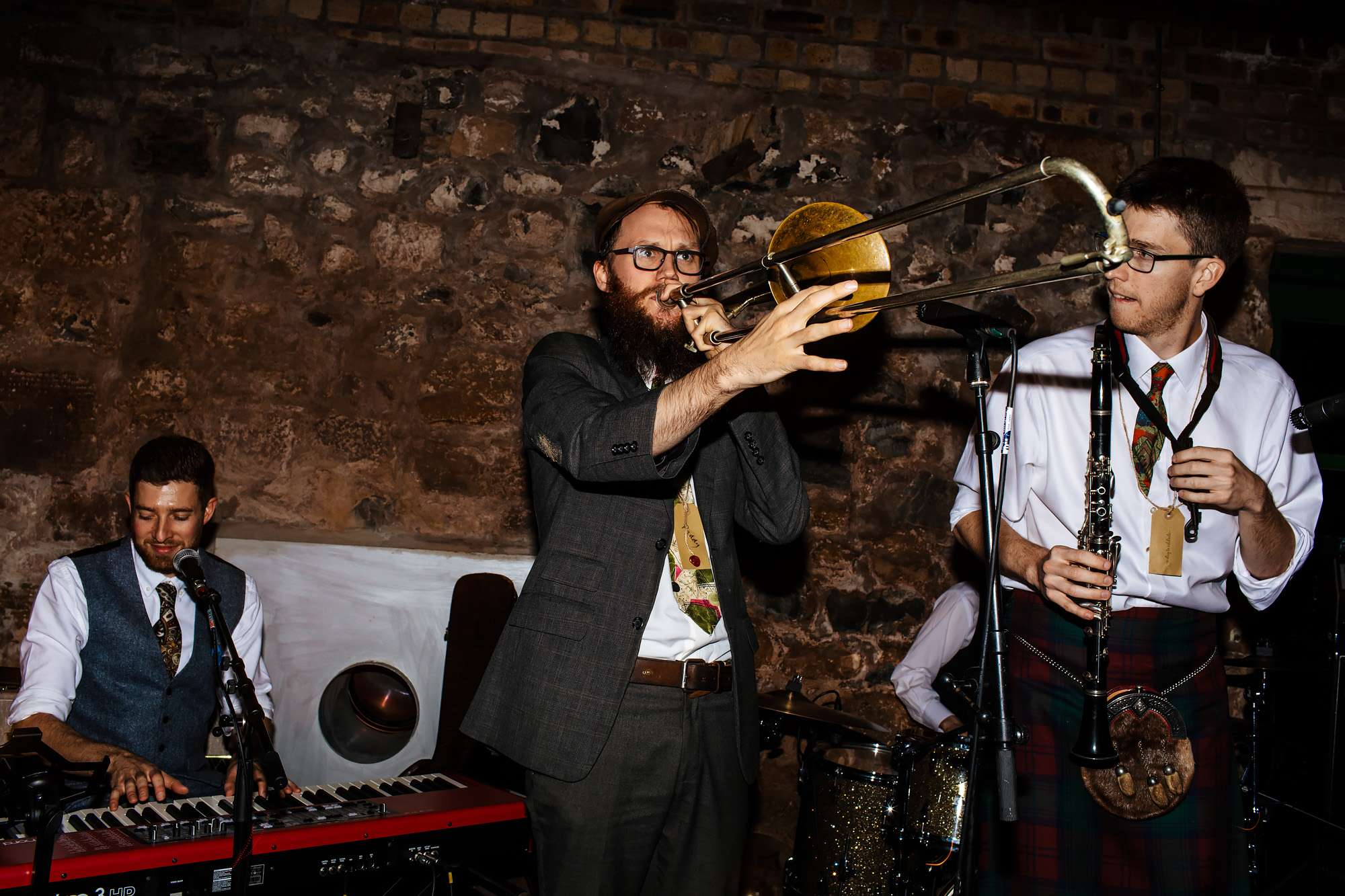 Trombonist performing at a Fife wedding