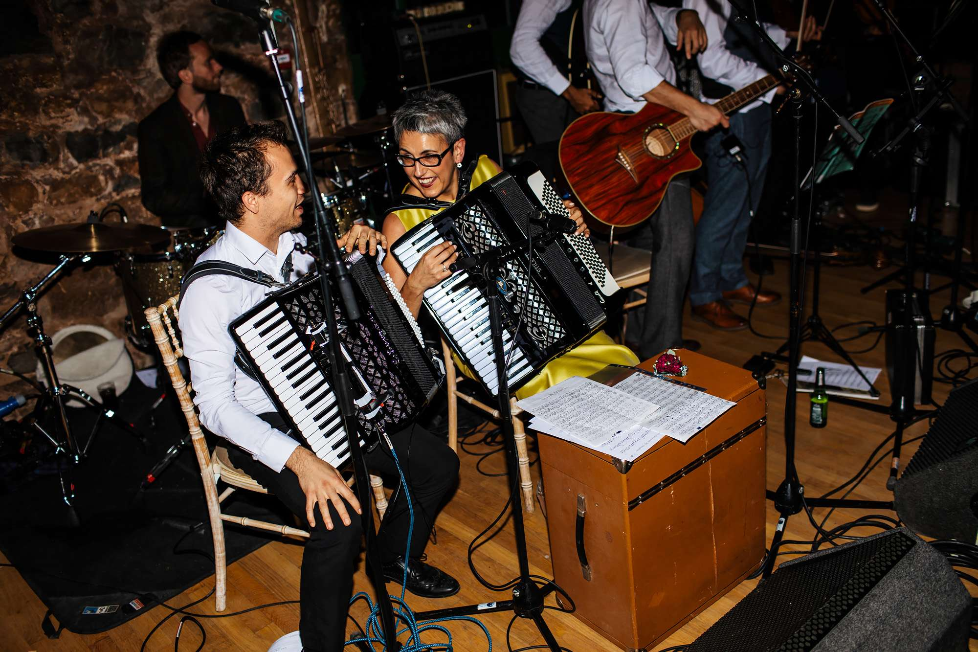 Accordions performing at a Wedding ceilidh at The Rhynd Leuchars