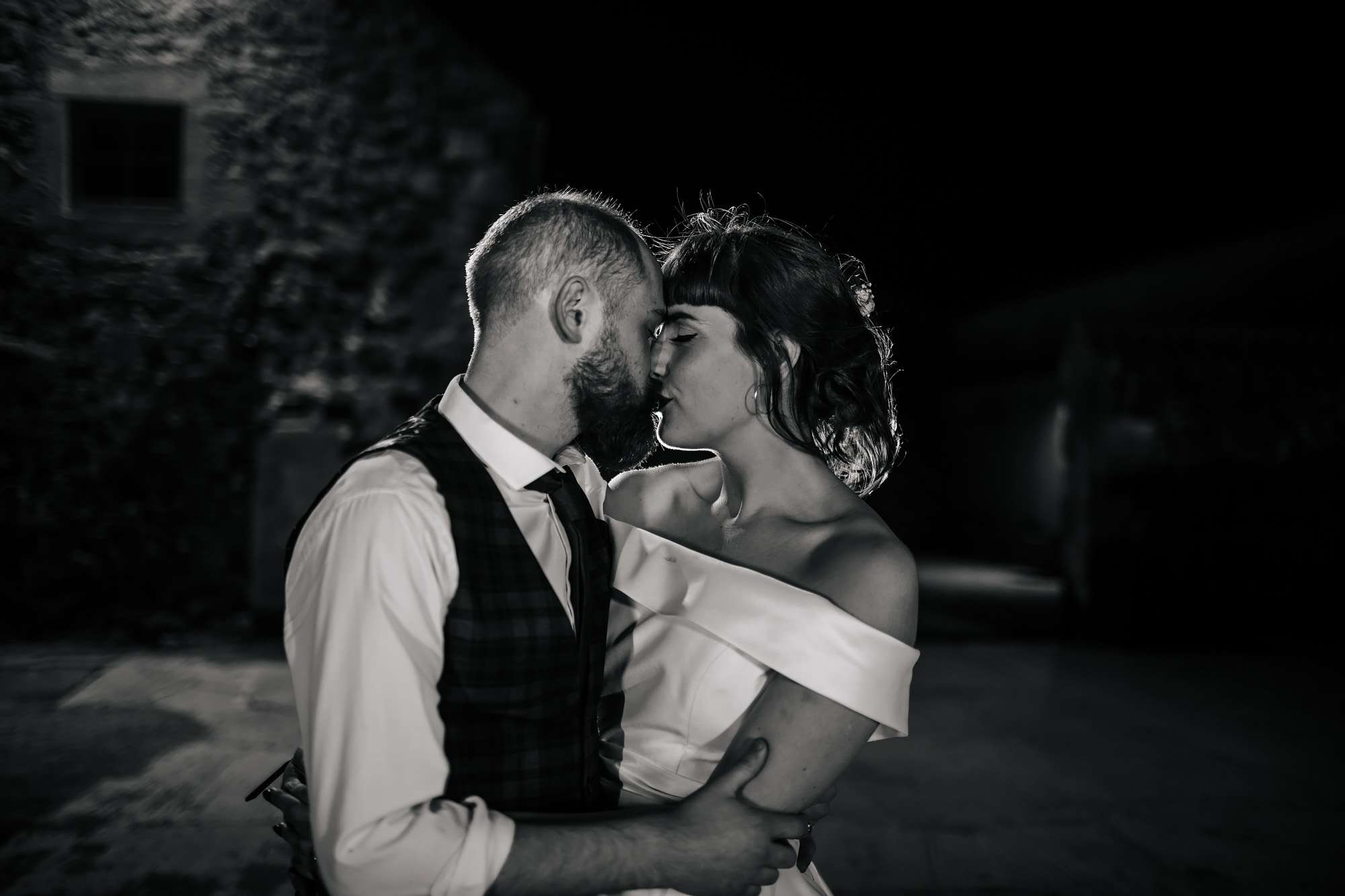 Bride and groom night portrait at The Rhynd Leuchars