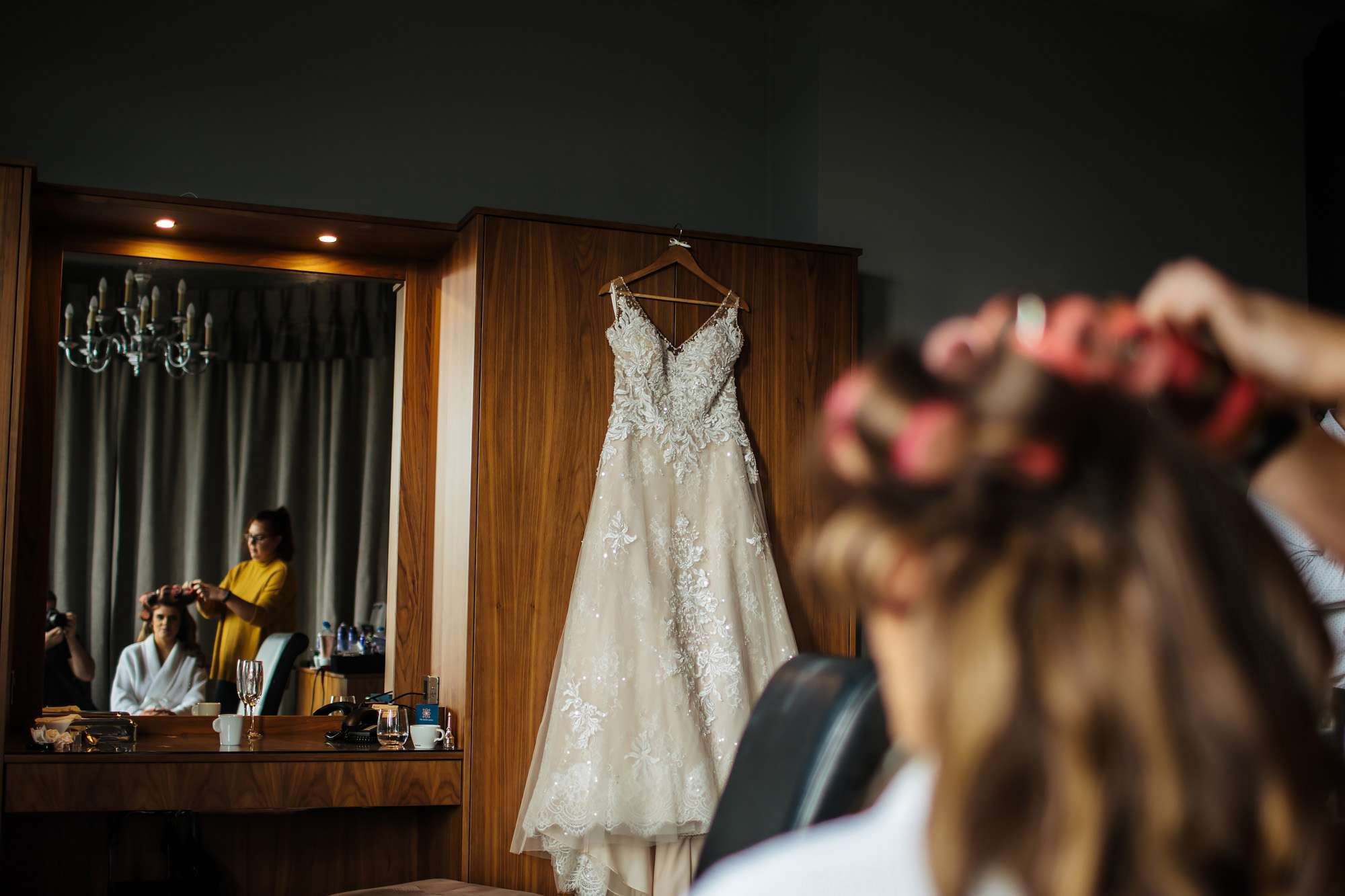 Wedding dress hanging up in Blackpool