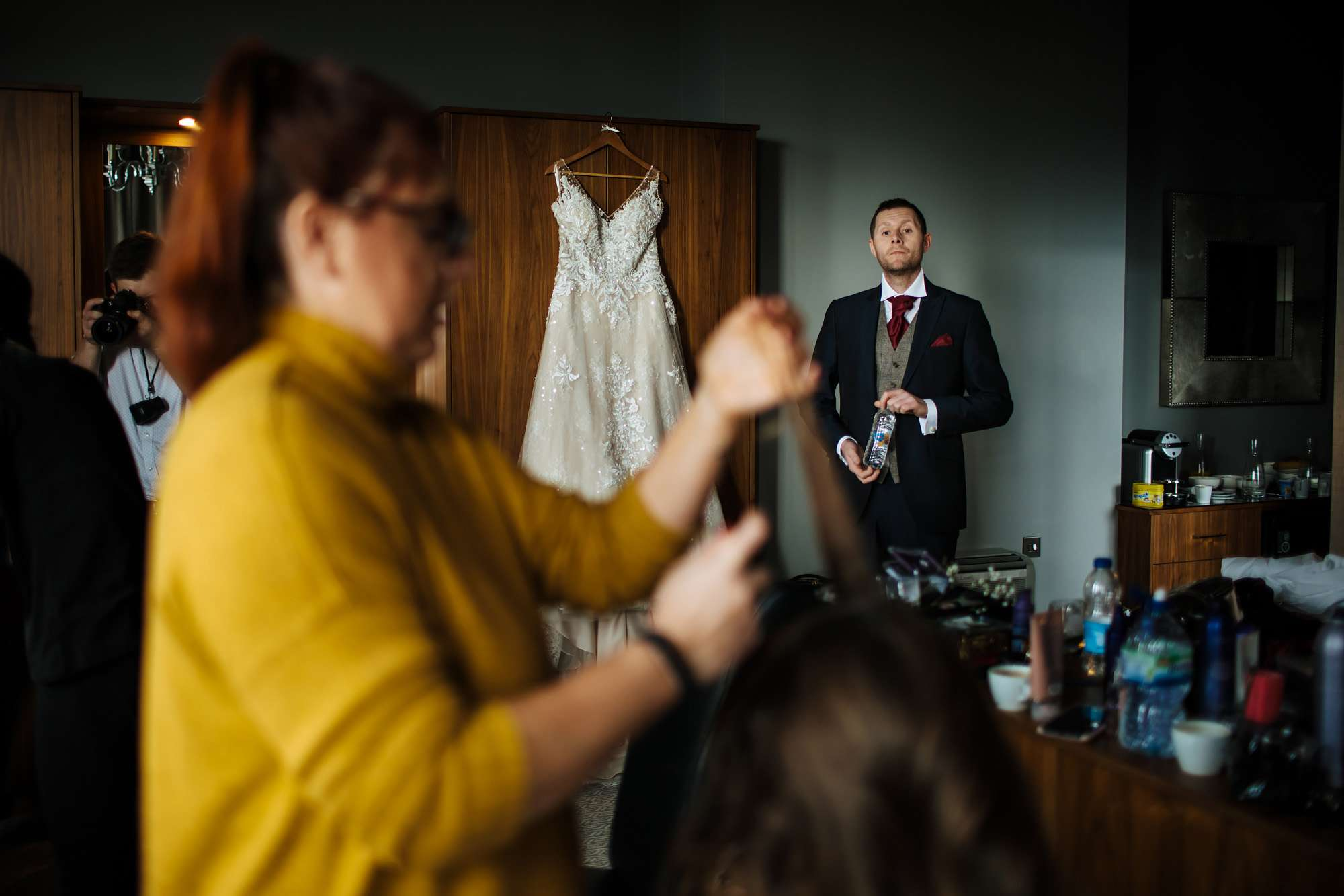 Groomsman on the wedding morning in Blackpool