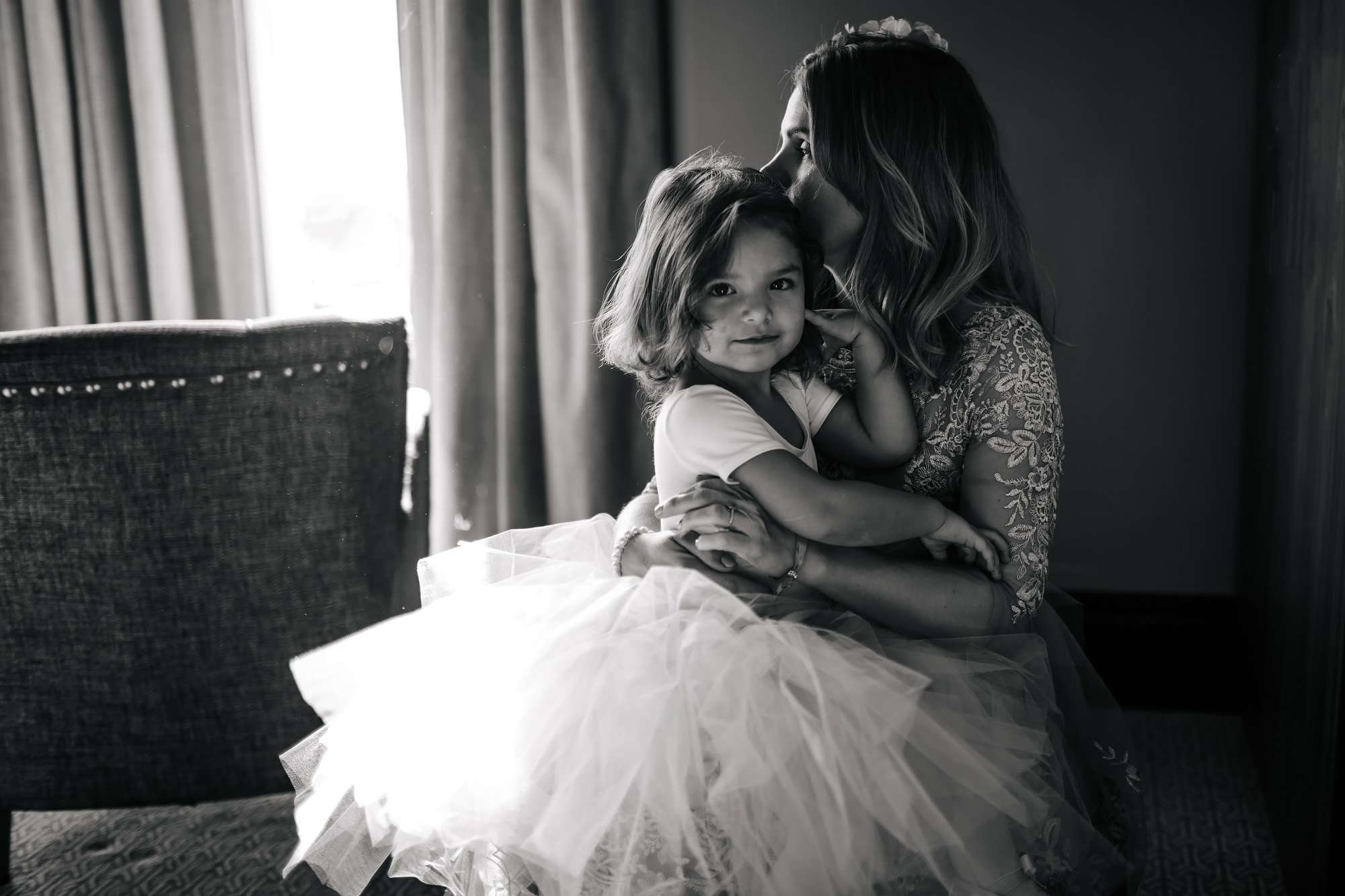 Flower girl and mum before a wedding