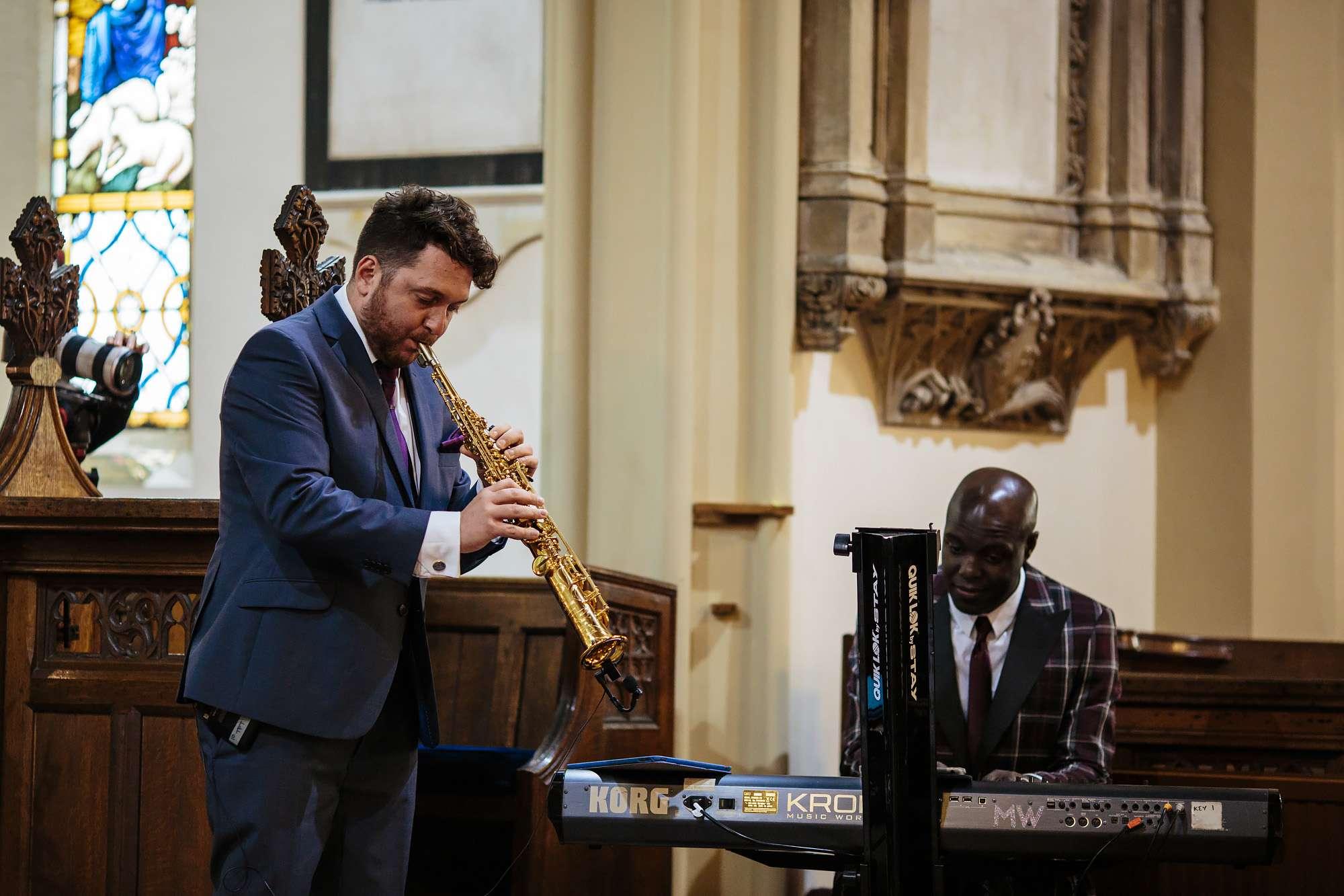 Saxophone and piano duo play at a Blackpool church wedding