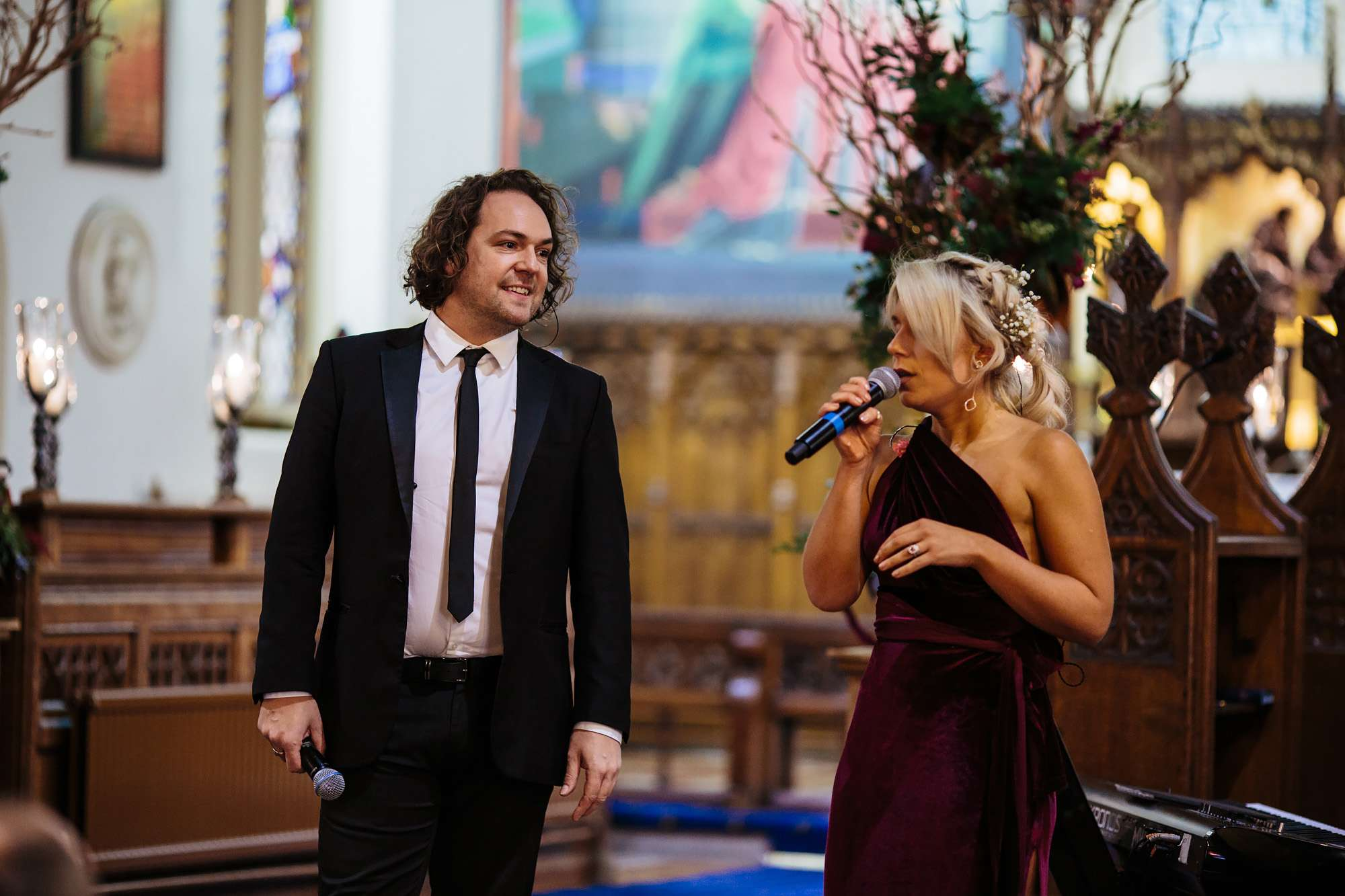 Singers at a church wedding