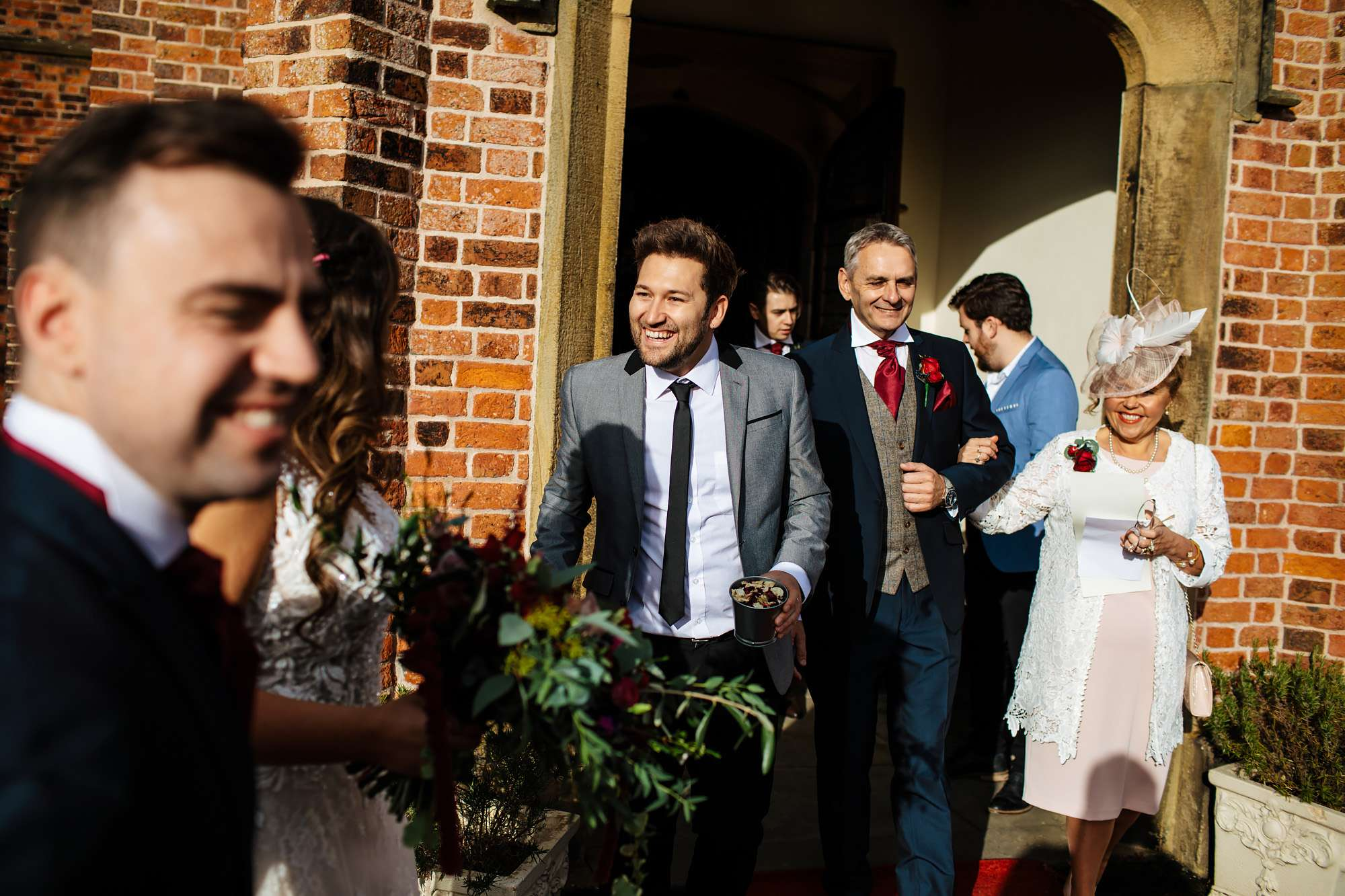 Wedding guests exit the church in Blackpool