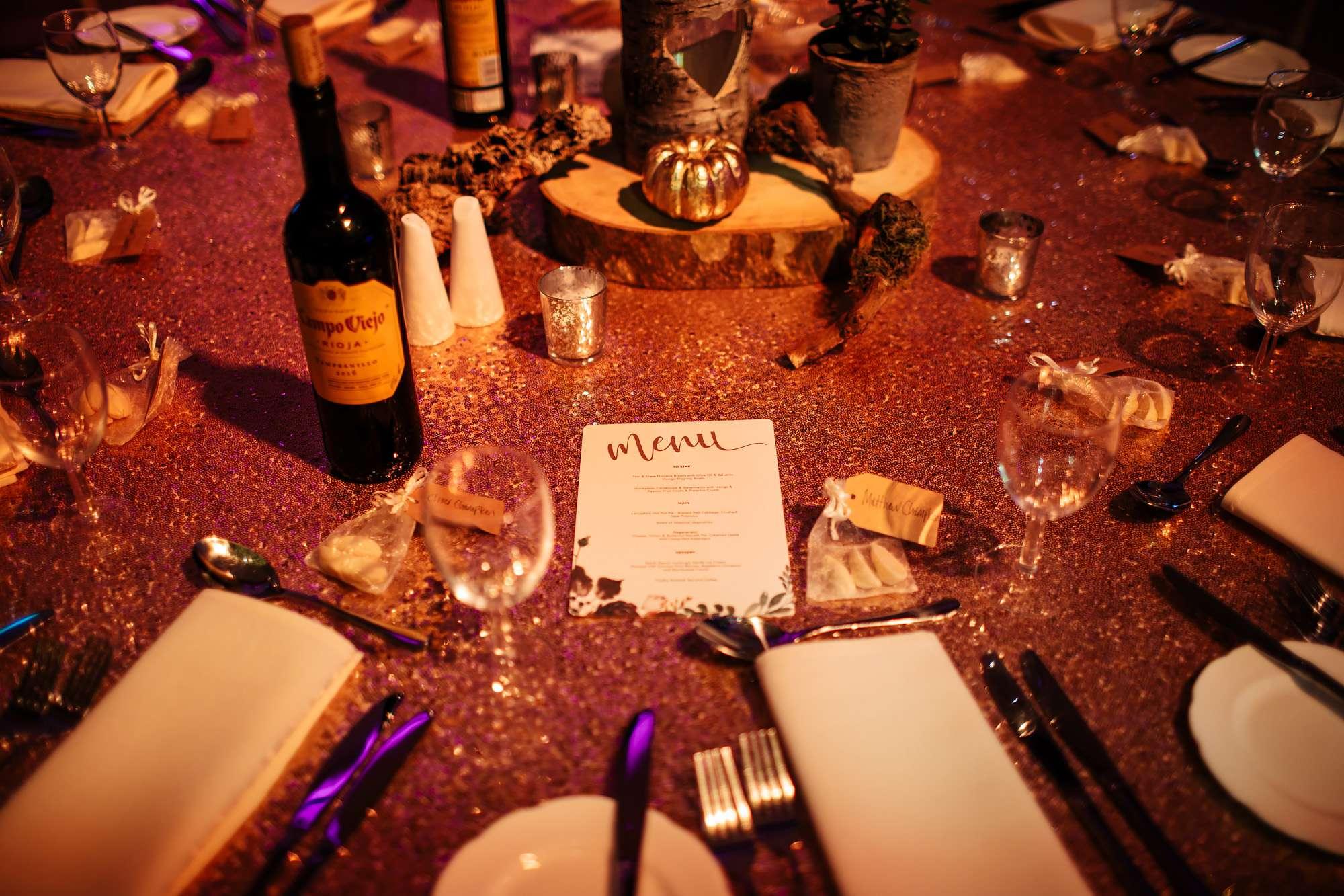 Table menus at a Blackpool wedding