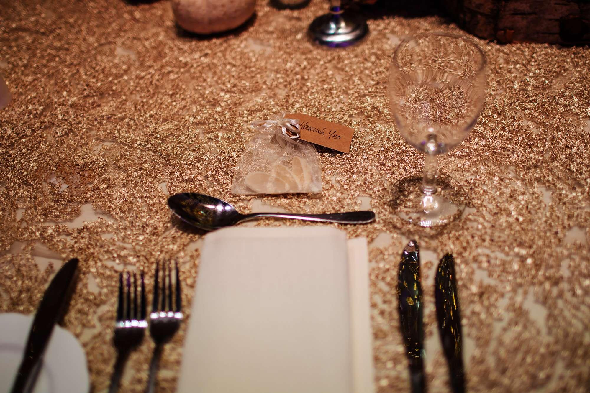 Table set up at a wedding