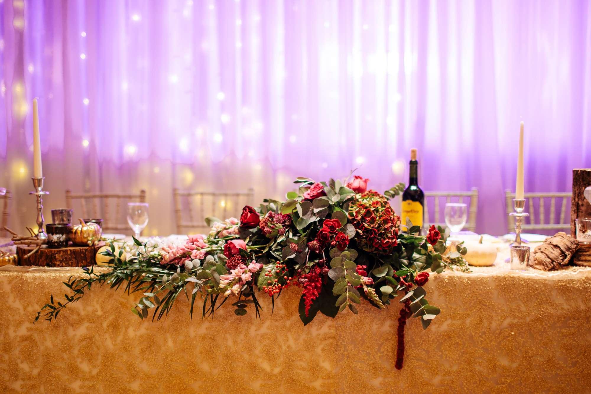 Top table flowers at a wedding