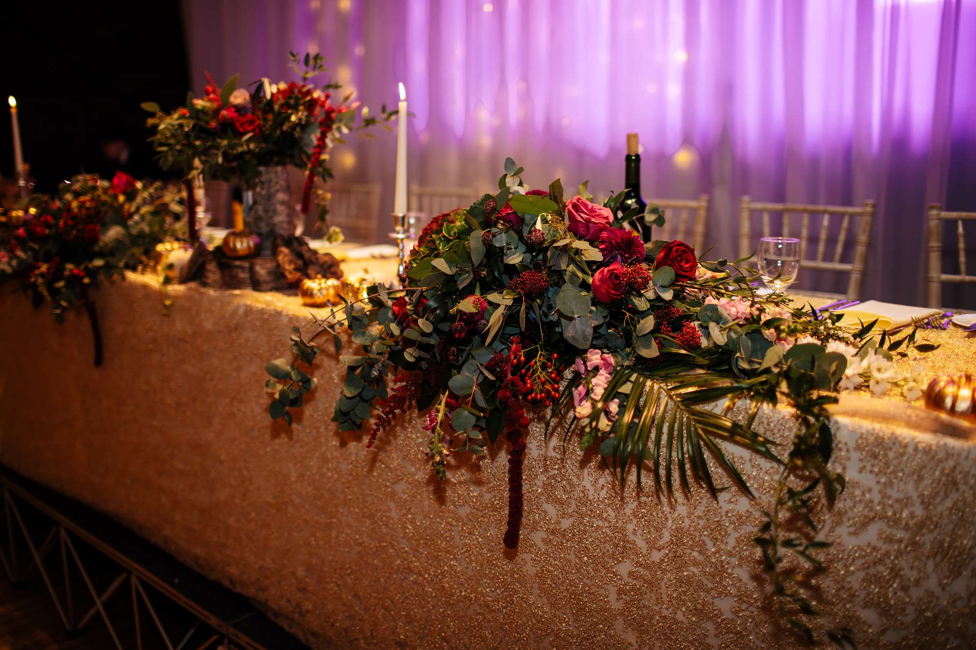 Flower decorations at a wedding