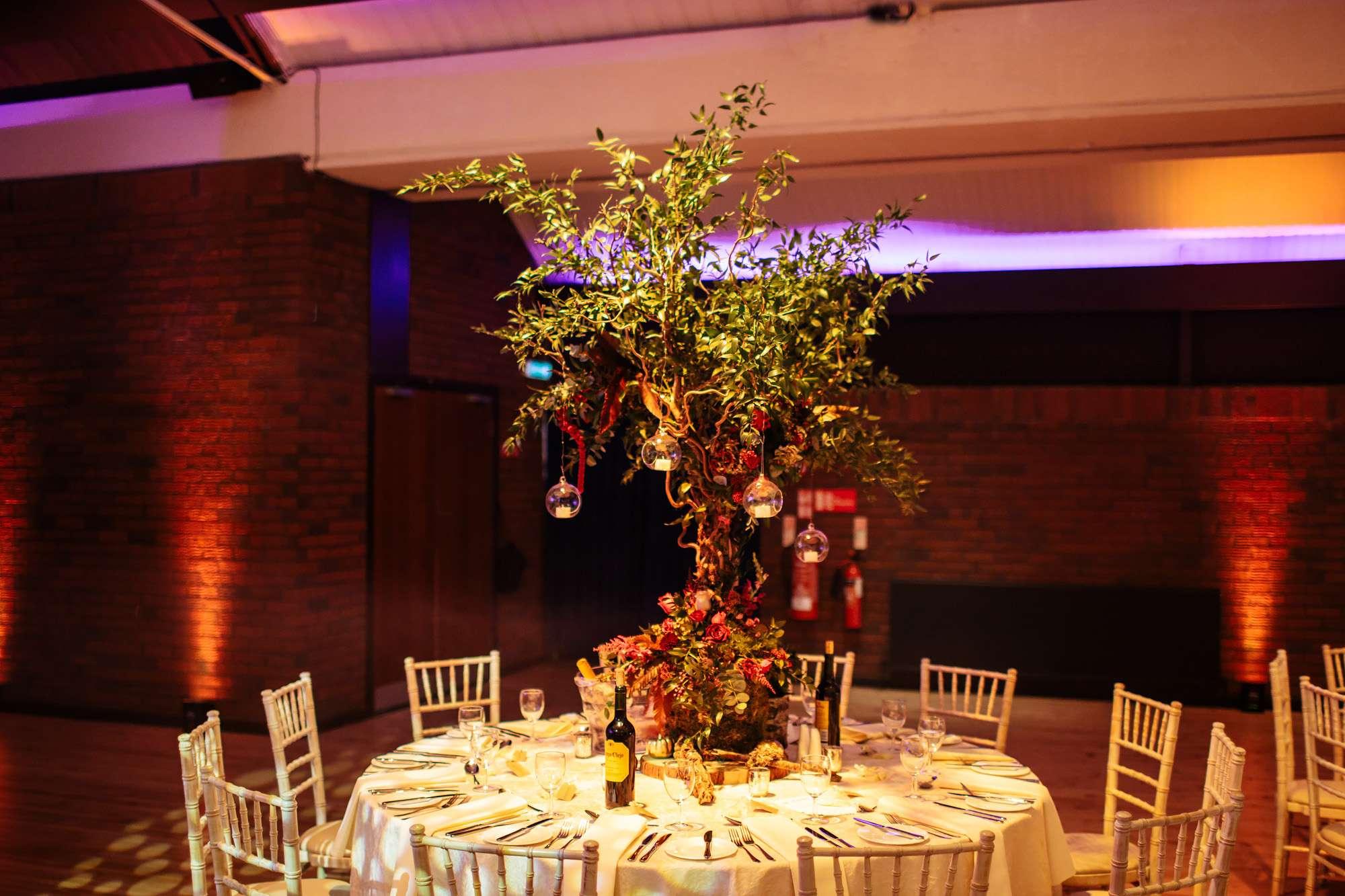 Table centrepieces at a wedding