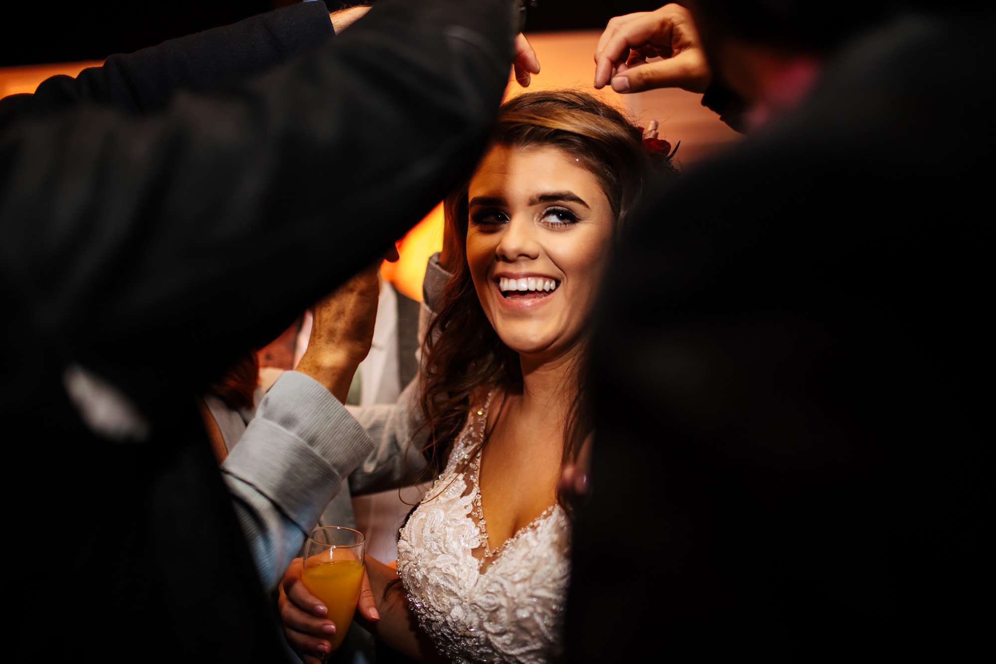 A bride laughing at her wedding in Blackpool