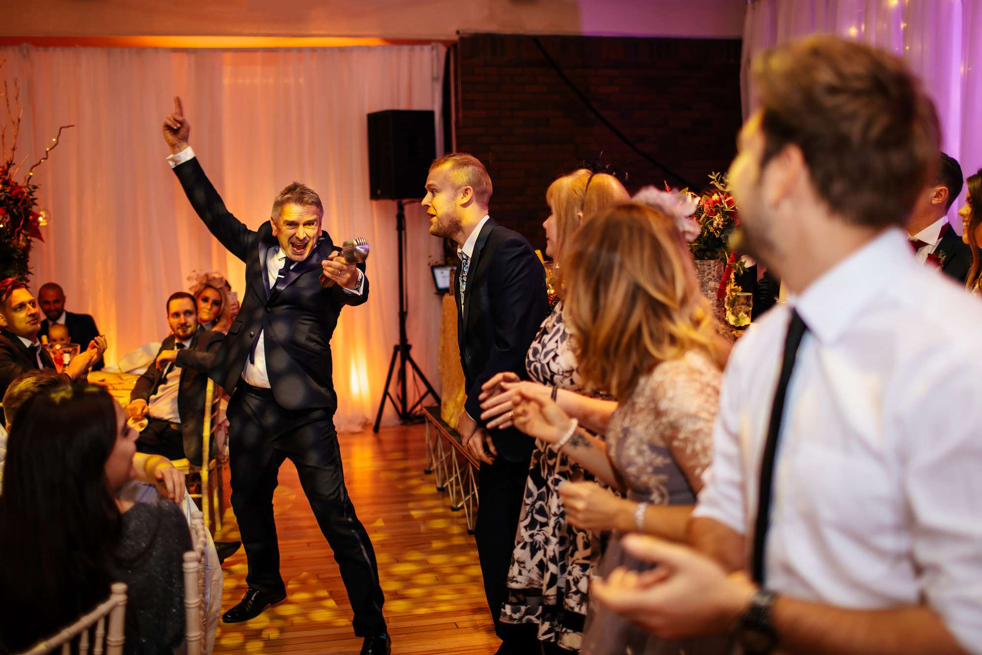 Wedding guests dancing at their tables in Blackpool