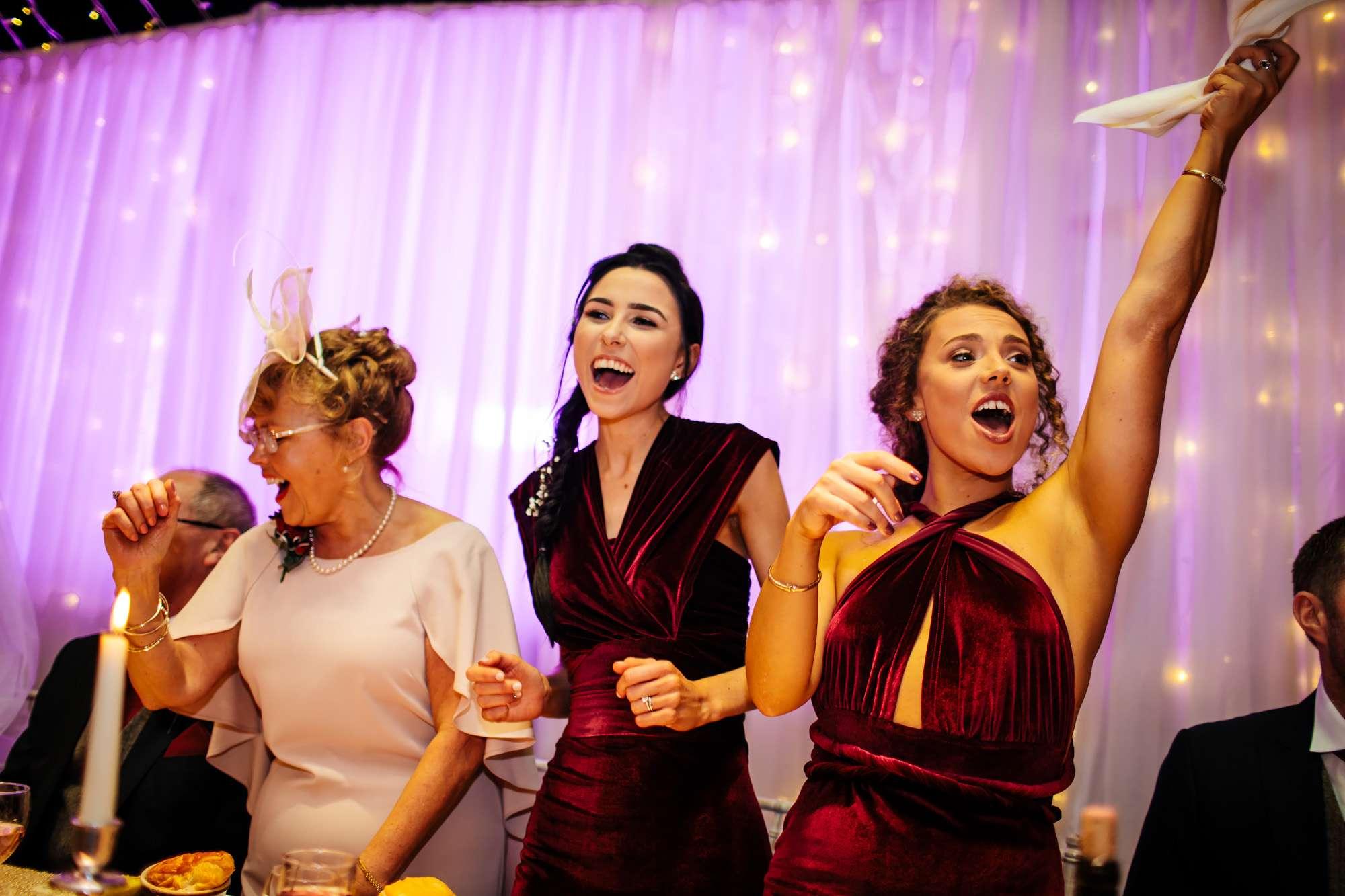 Bridesmaids having fun at a Blackpool wedding
