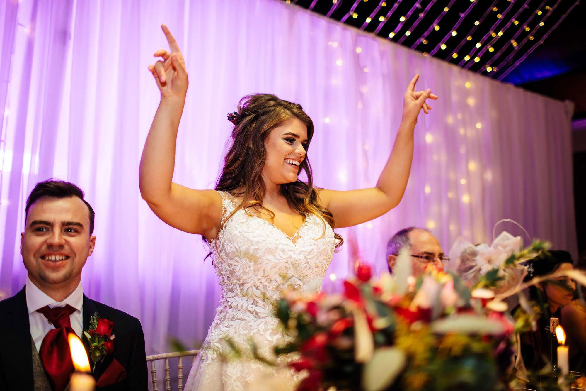 Bride dancing at her wedding in Blackpool