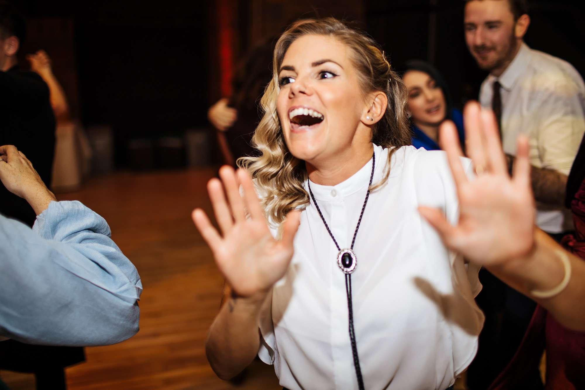Wedding guests dancing in Blackpool