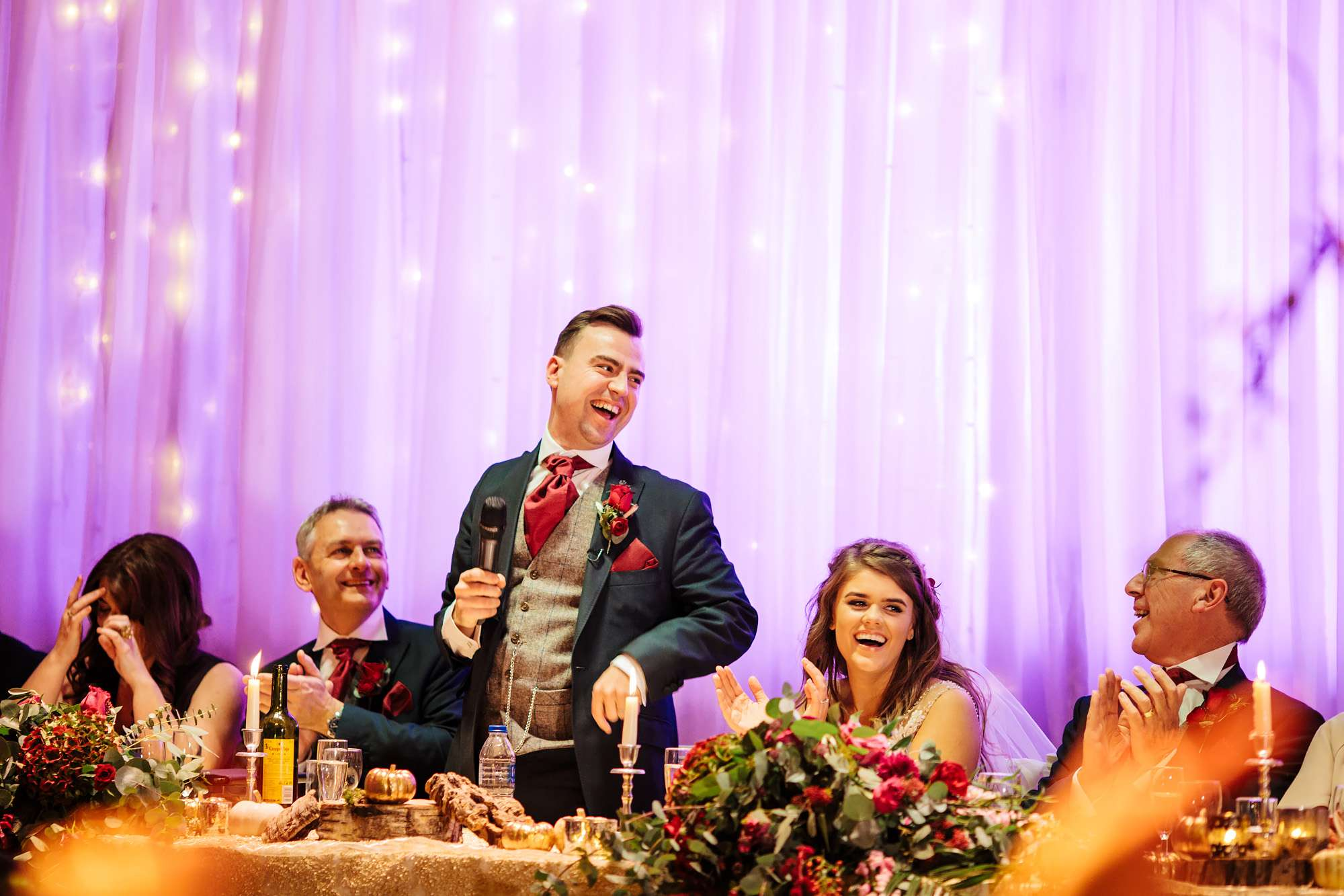 Groom performs his speech at his Blackpool wedding
