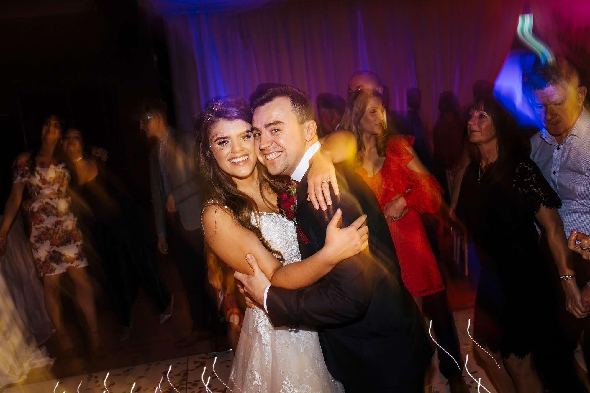 Bride and groom dancing at their wedding in Blackpool
