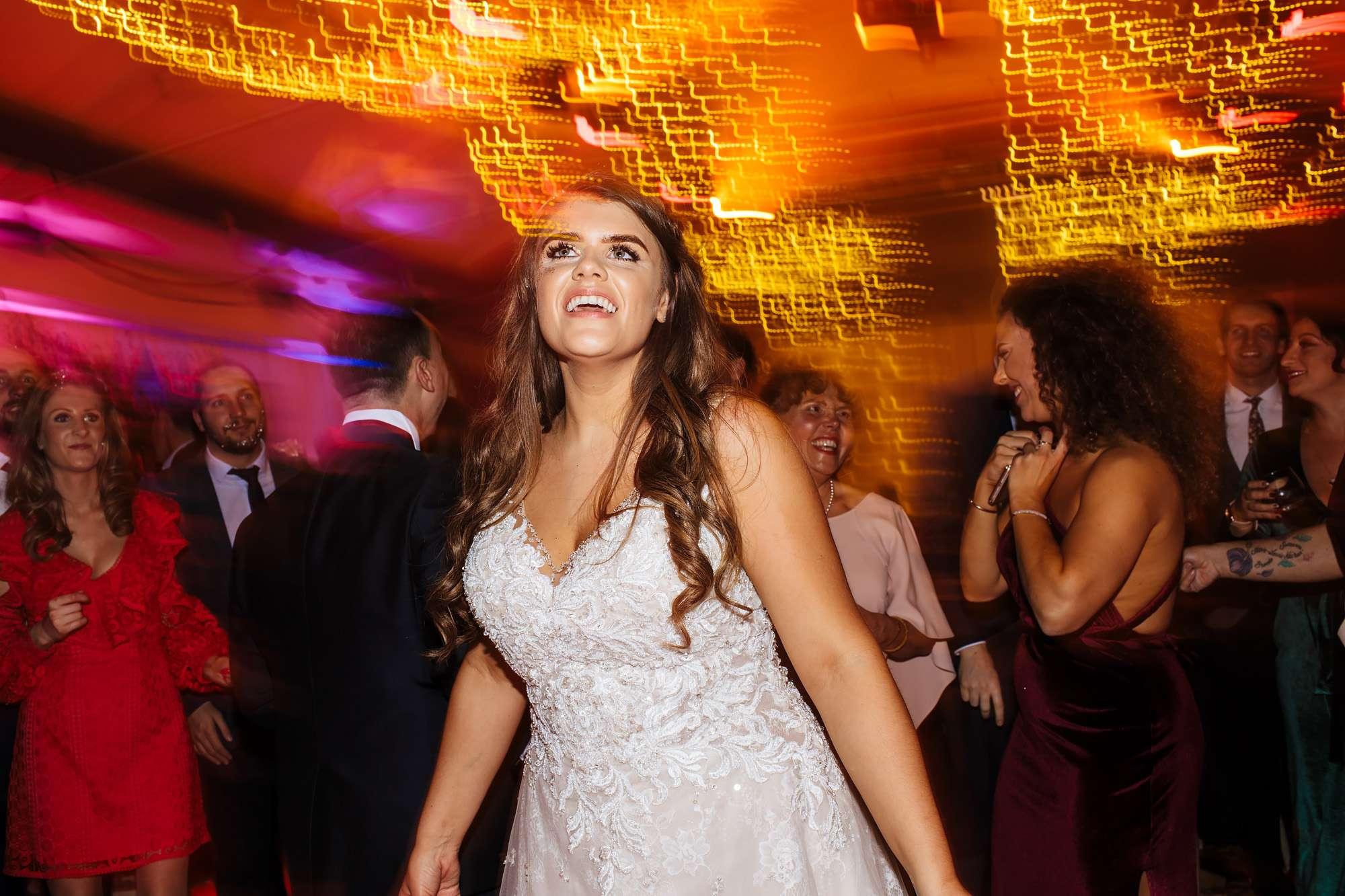 Bride on the dance floor at her Blackpool wedding
