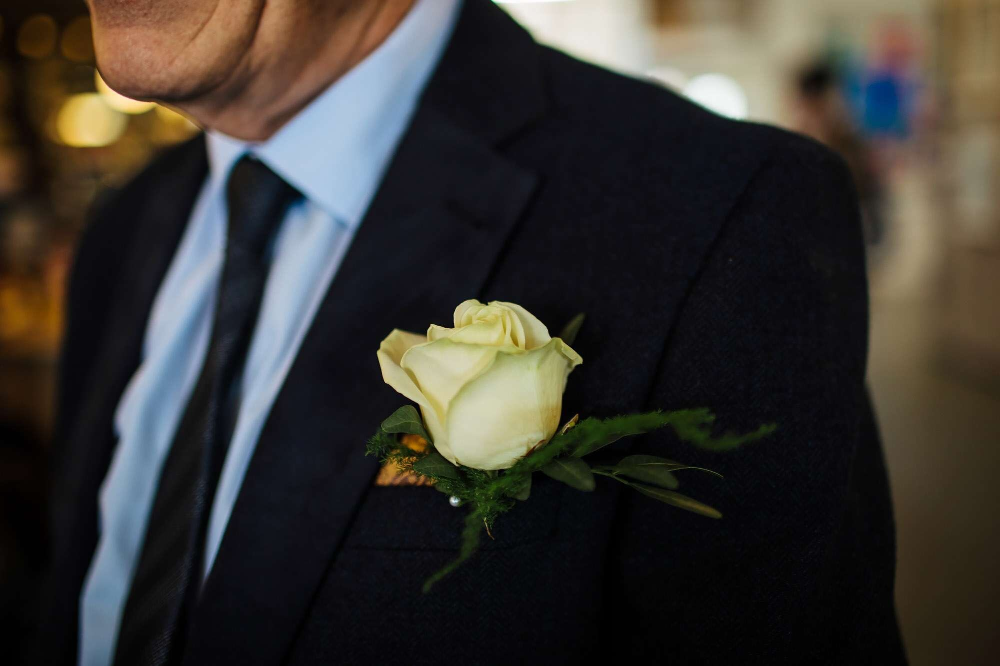 Close up of a wedding buttonhole