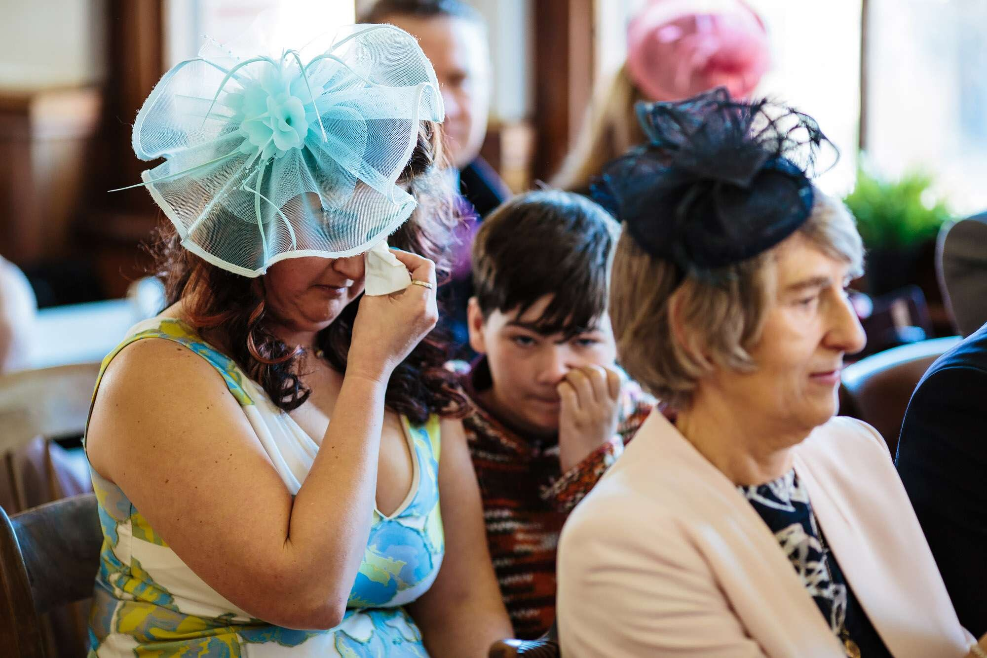 Wedding guests crying at the ceremony in Leeds