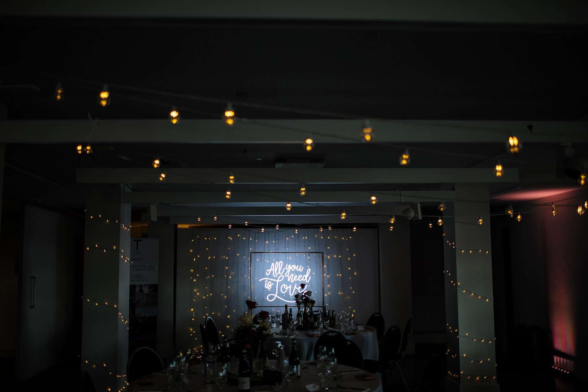 Wedding reception room set up at The Tetley Leeds
