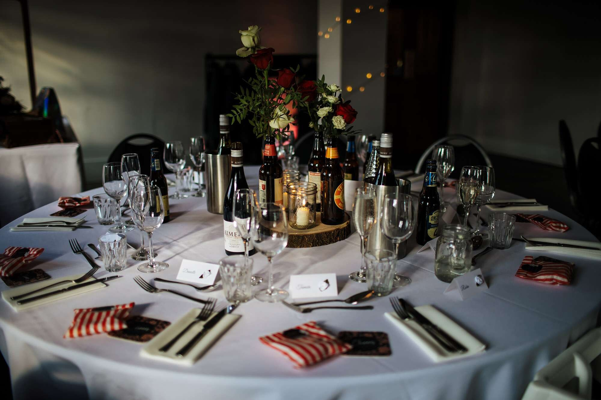 Table decoration for a wedding at The Tetley Leeds