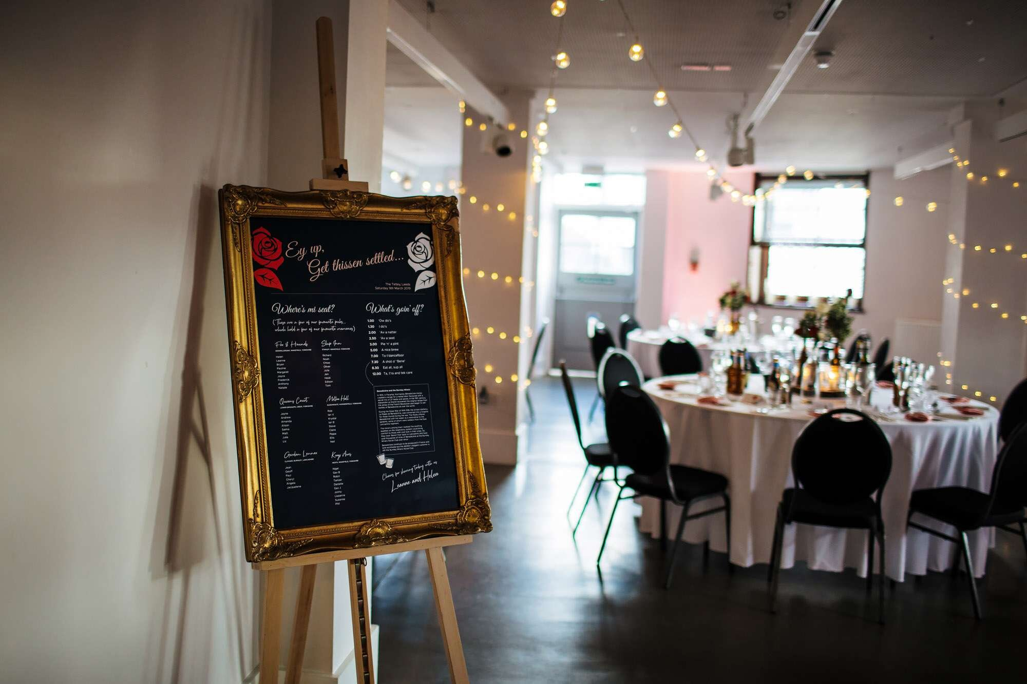 Seating plan for a wedding at The Tetley Leeds