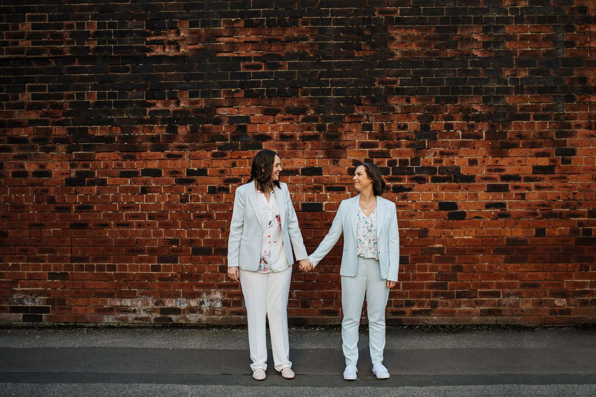 Two brides at a gay wedding in Leeds