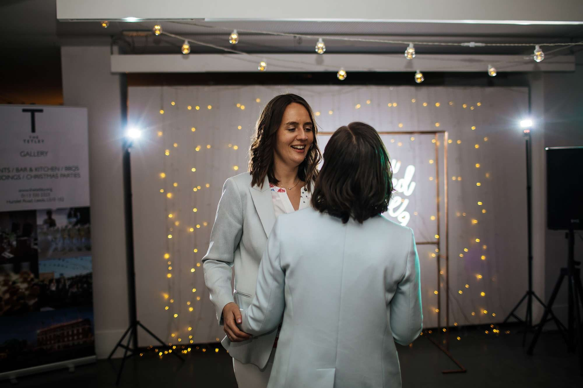 Two brides dancing at a gay wedding The Tetley Leeds