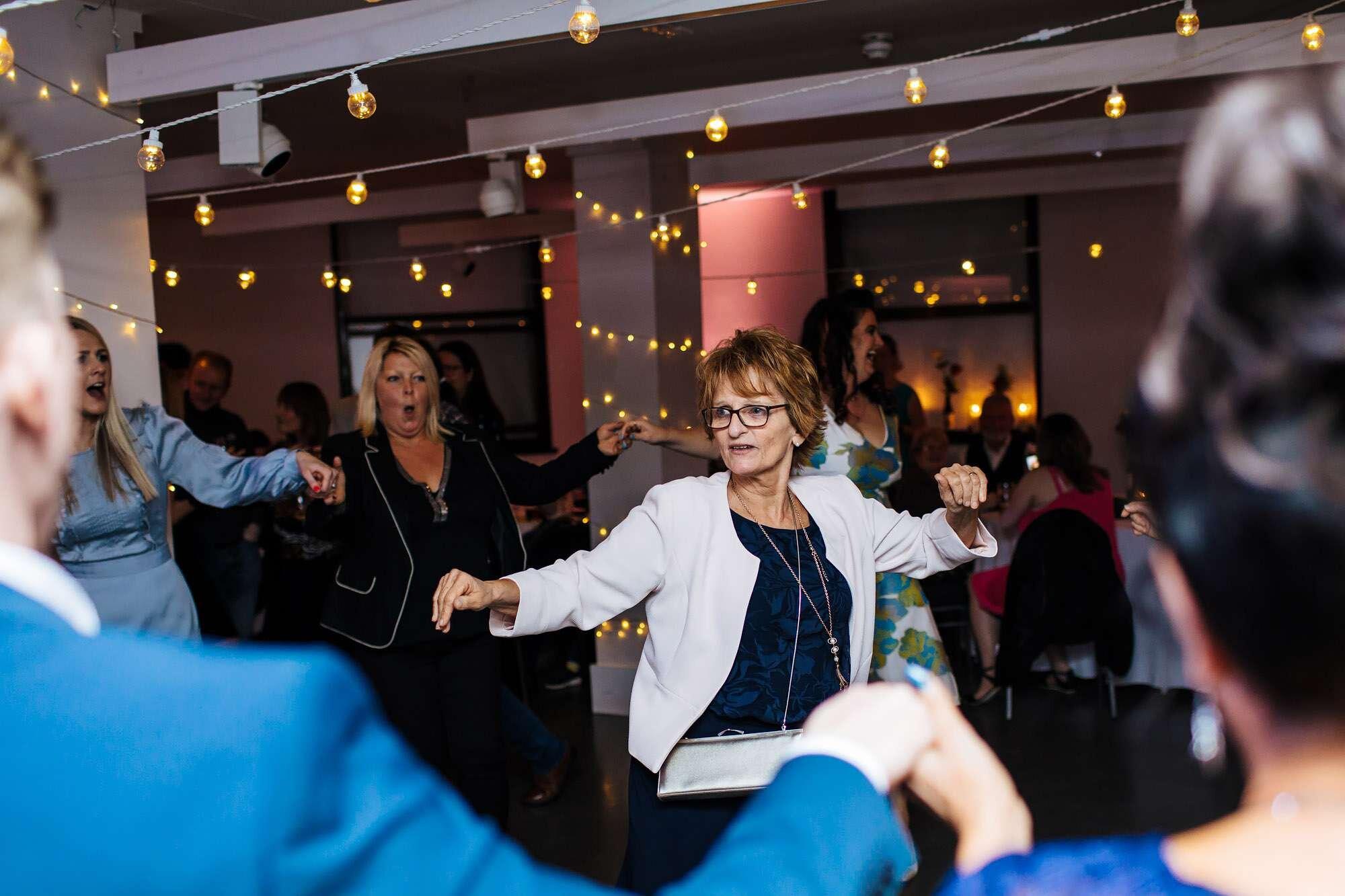 Wedding guests dancing at The Tetley Leeds