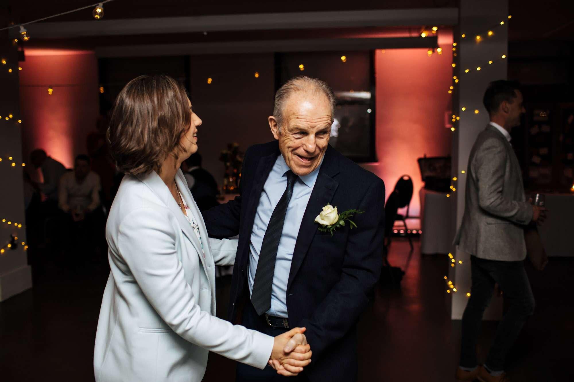 Bride and dad dancing at her wedding at The Tetley Leeds
