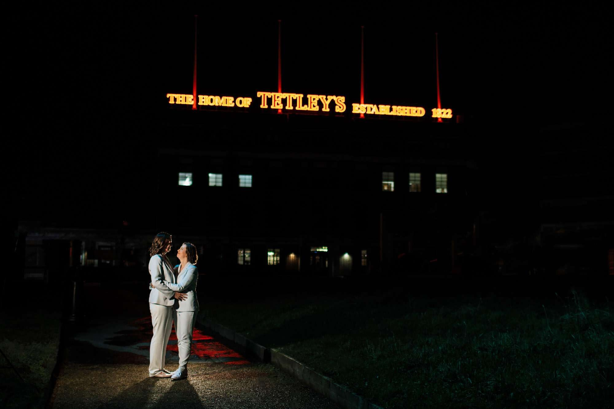 Gay wedding at The Tetley Leeds by night