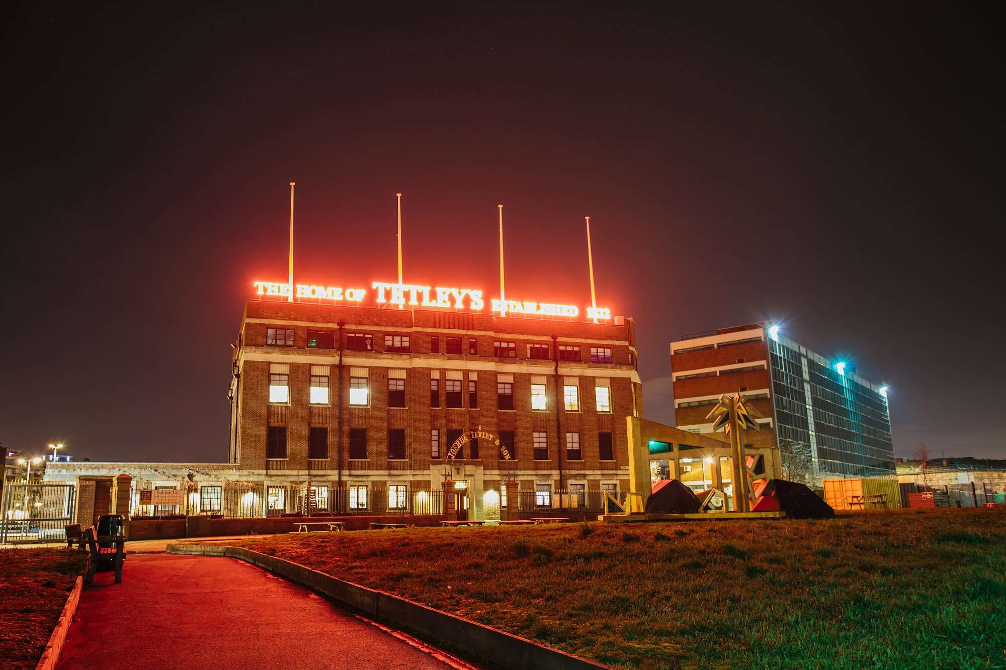 Night time shot of The Tetley Leeds exterior