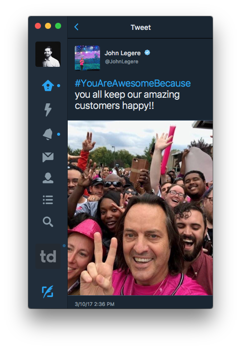 When @JohnLegere, CEO of T-Mobile, is not burning Sprint and Verizon, he is praising his employees and customers in a single tweet. Modern. Legend.