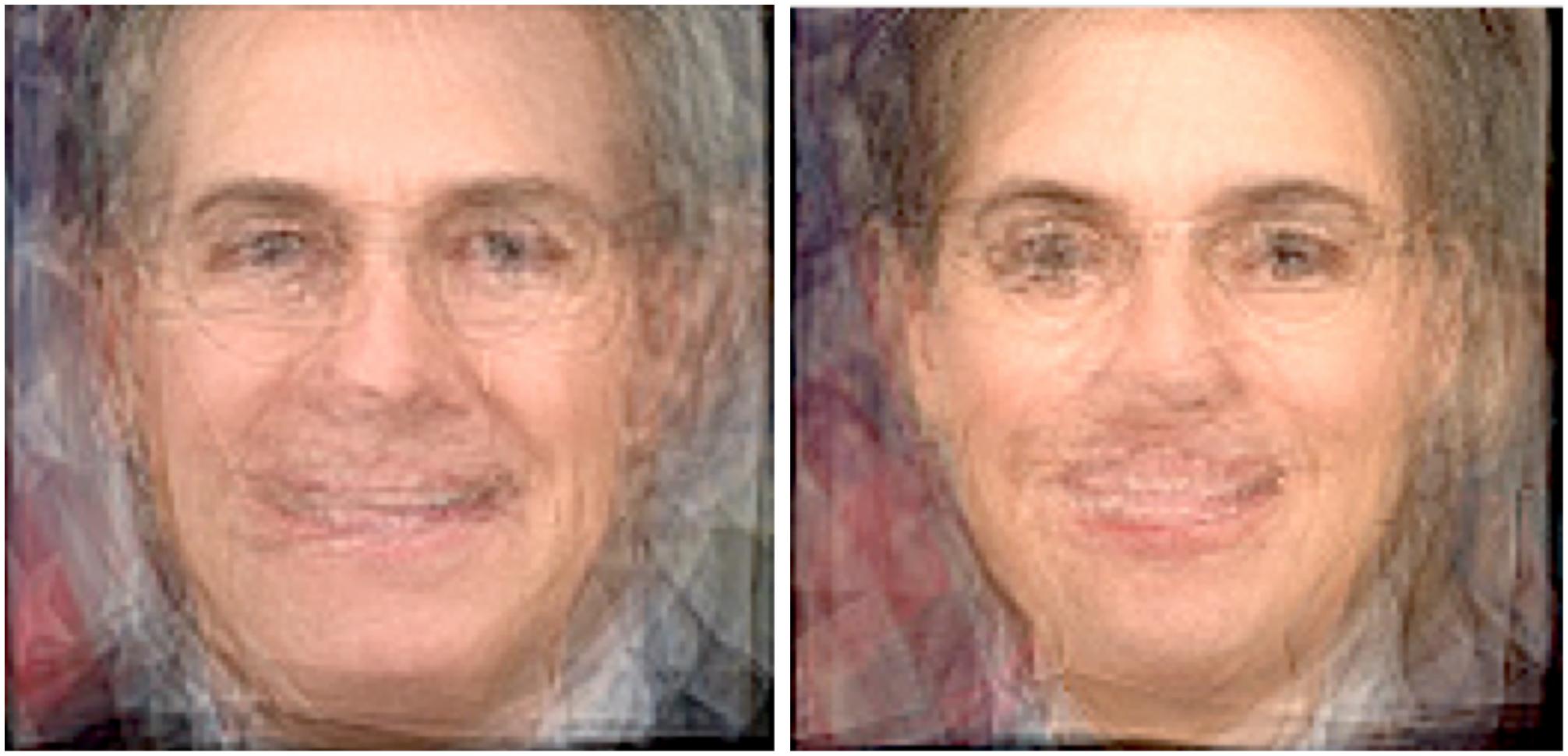 Left: Average face of a Trump Cabinet member. Right: Average face of a Obama cabinet member