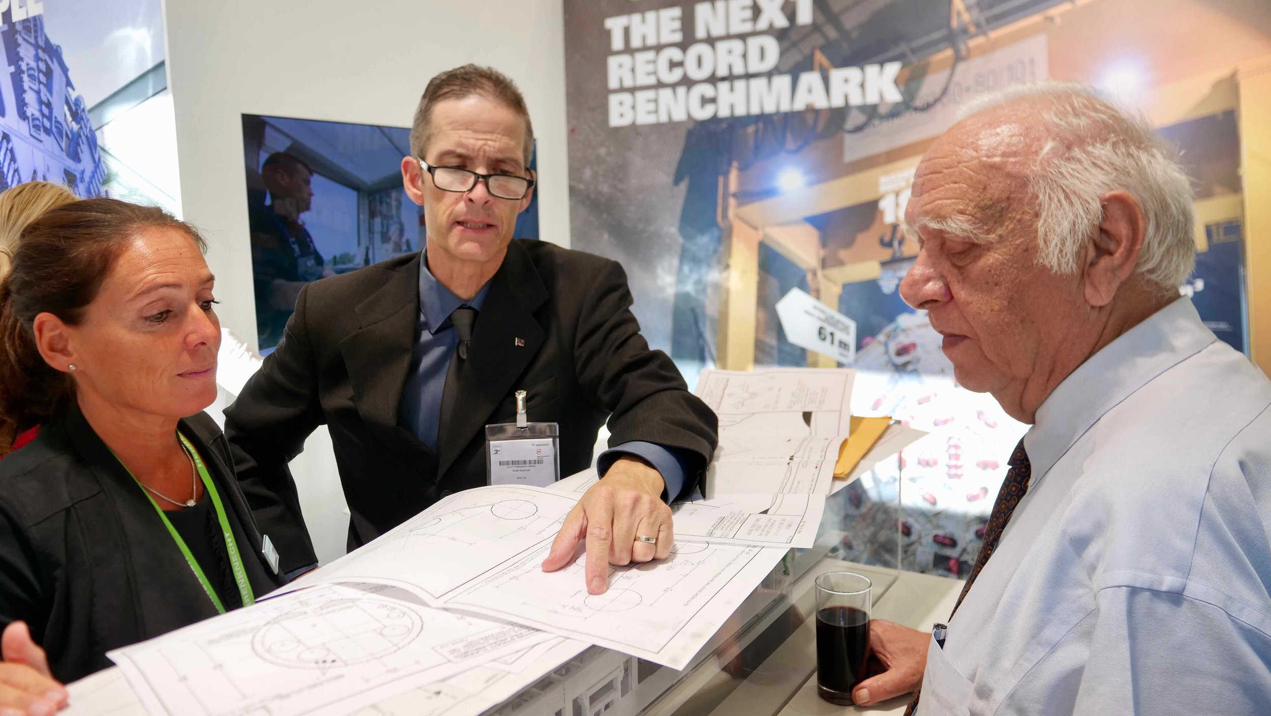 InterContinental Railway Chief Project Advisor Scott Spencer (middle) and ICR founder George Koumal (r) show Mr. Koumal's design of the Bering Strait tunnel to Dr. Karin Bäppler, Head of Business Development and Geotechnics & Consulting & Traffic Tunnelling at Herrenknecht AG – one of the world's leading manufacturers of tunnel boring machines. Dr. Bäppler provided a wealth of technical insight on how to construct the Bering Strait tunnel.