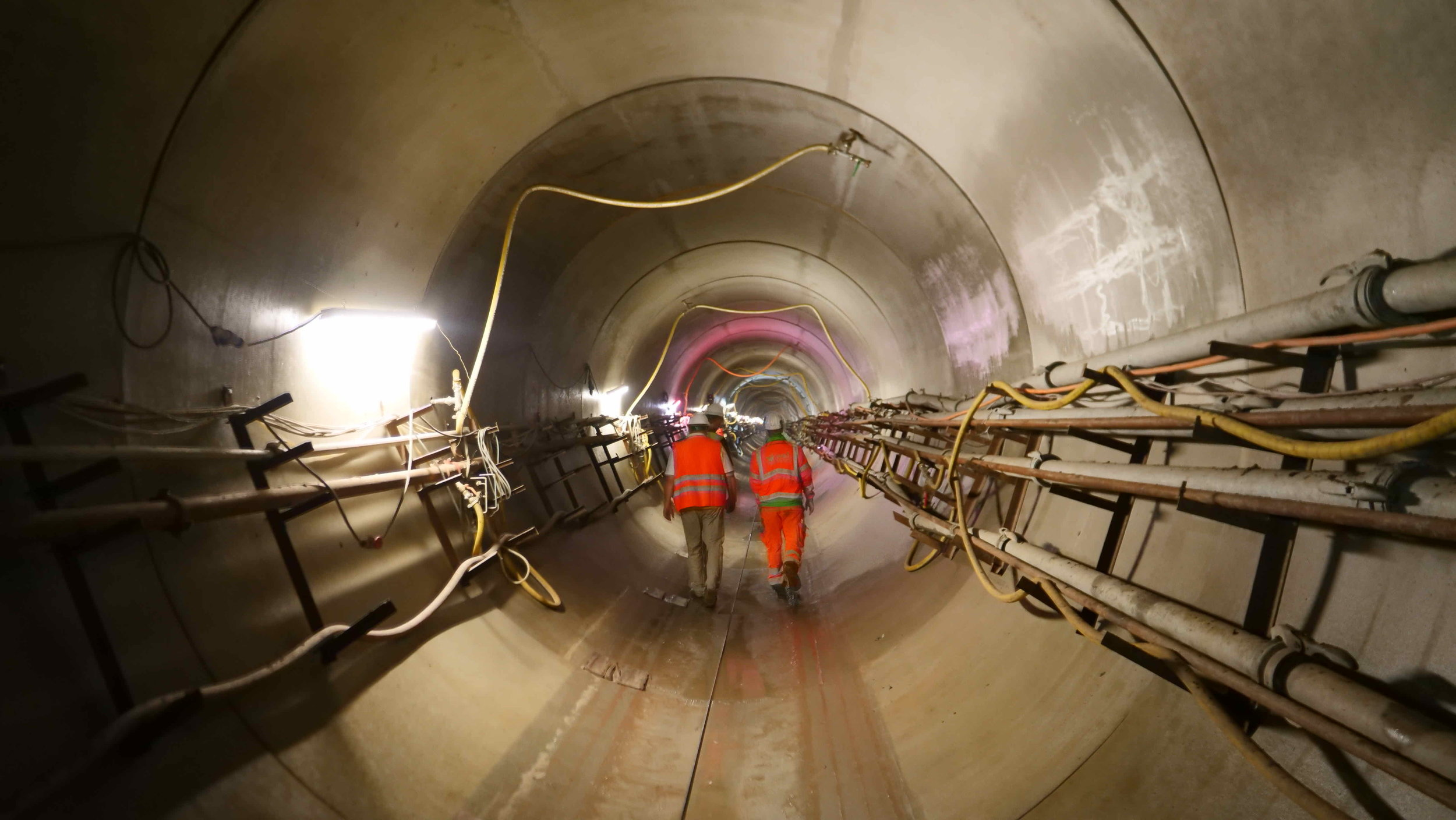 The InterContinental Railway team inspect the Mauerpark tunnel in Berlin-Prenzlauer Berg. The Berlin Water Works is building the 3.7m diameter tunnel to collect excess water runoff and prevent it from entering the Spree River.