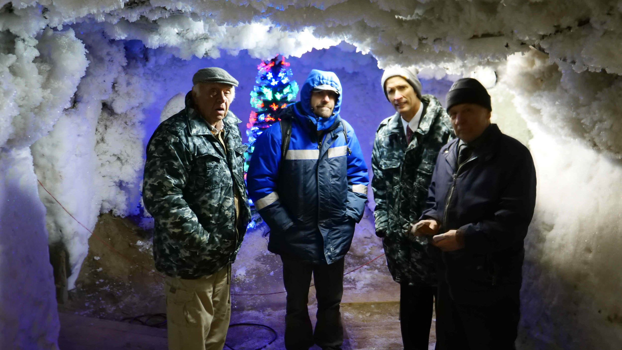 InterContinental Railway founder George Koumal, film producer Vlad Ketkovich and ICR Chief Project Advisor Scott Spencer visit the underground laboratory of the Permafrost Institute in Yakutsk under the guidance of long-time institute scientist Juri Murzin.