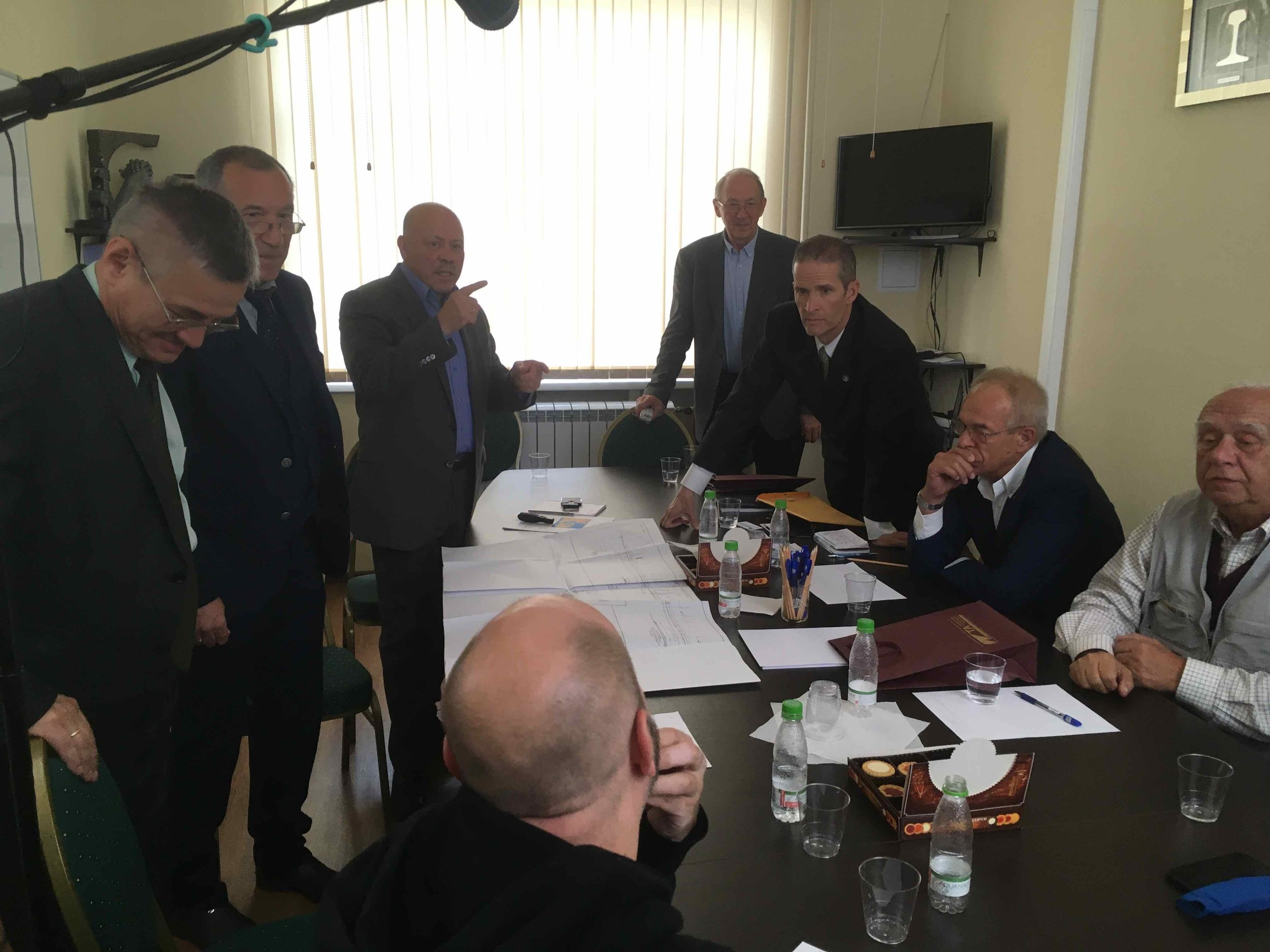 The Intercontinental Railway team listen to a presentation by the Russian Tunnelling Association about its analysis of and design ideas for the InterContinental Railway.