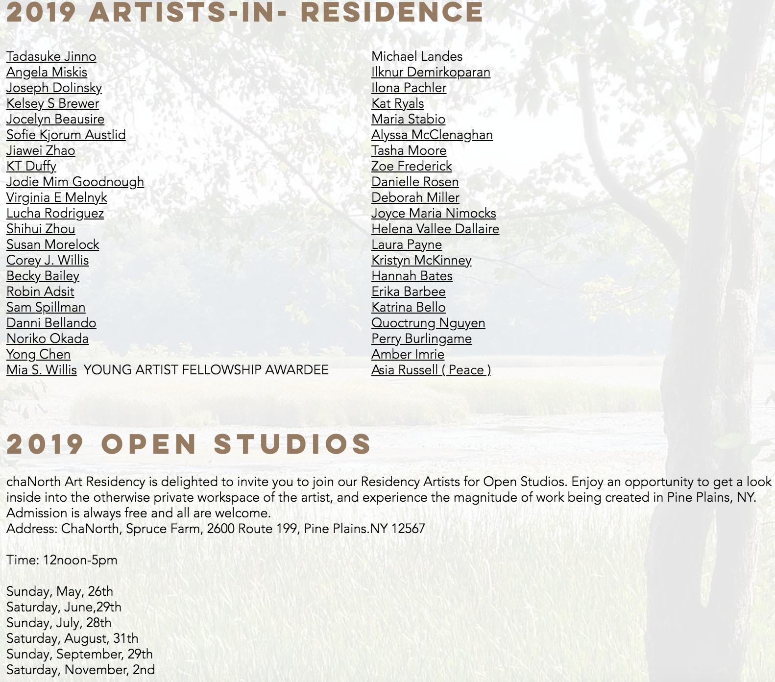 July 5th- Aug 1st, ChaShaMa artist residency
