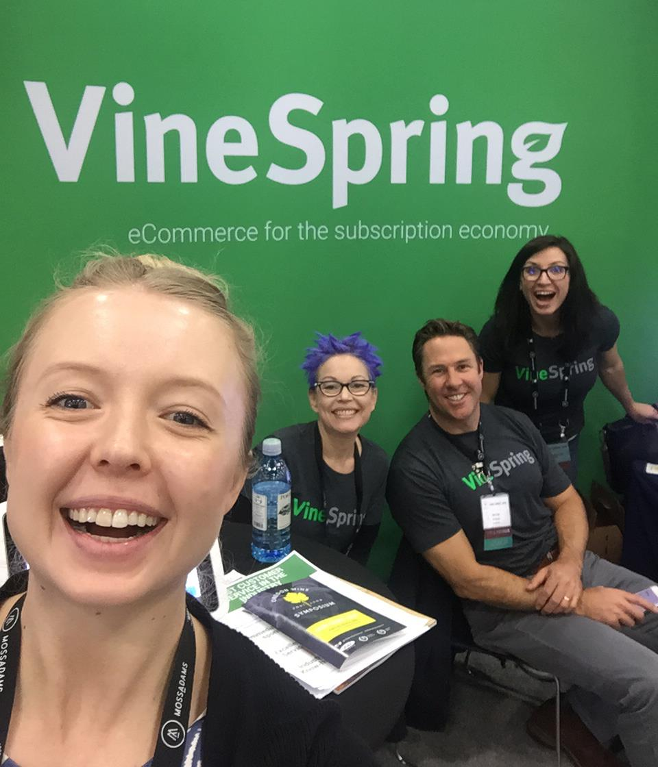 Sarah Bernosky (selfie-taker) of Square joins our team at the VineSpring booth. Britney Yunker (back left), Chris Towt (back middle), Andrea Steffes-Tuttle (back right).