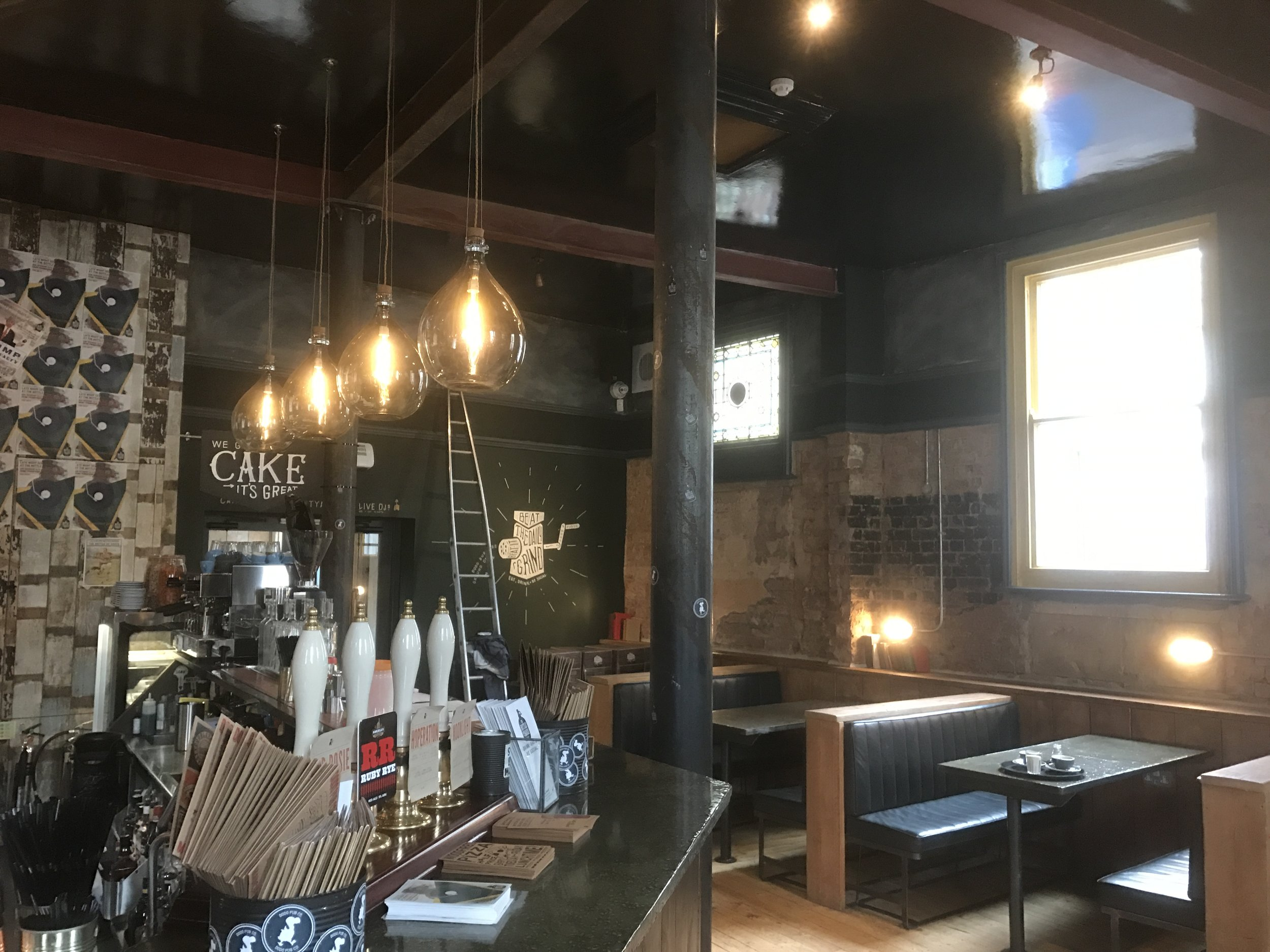 Internal view of bar with shiny windows!
